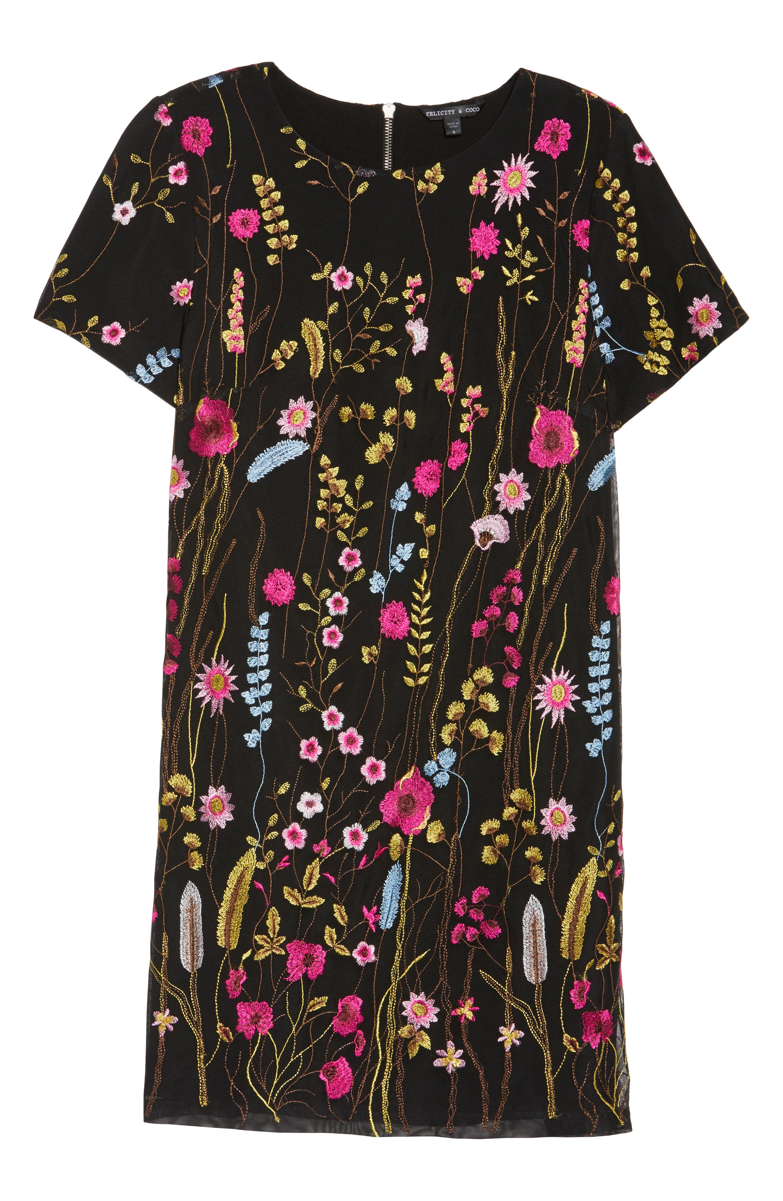Rose Embroidered Shift Dress,                             Alternate thumbnail 6, color,                             429