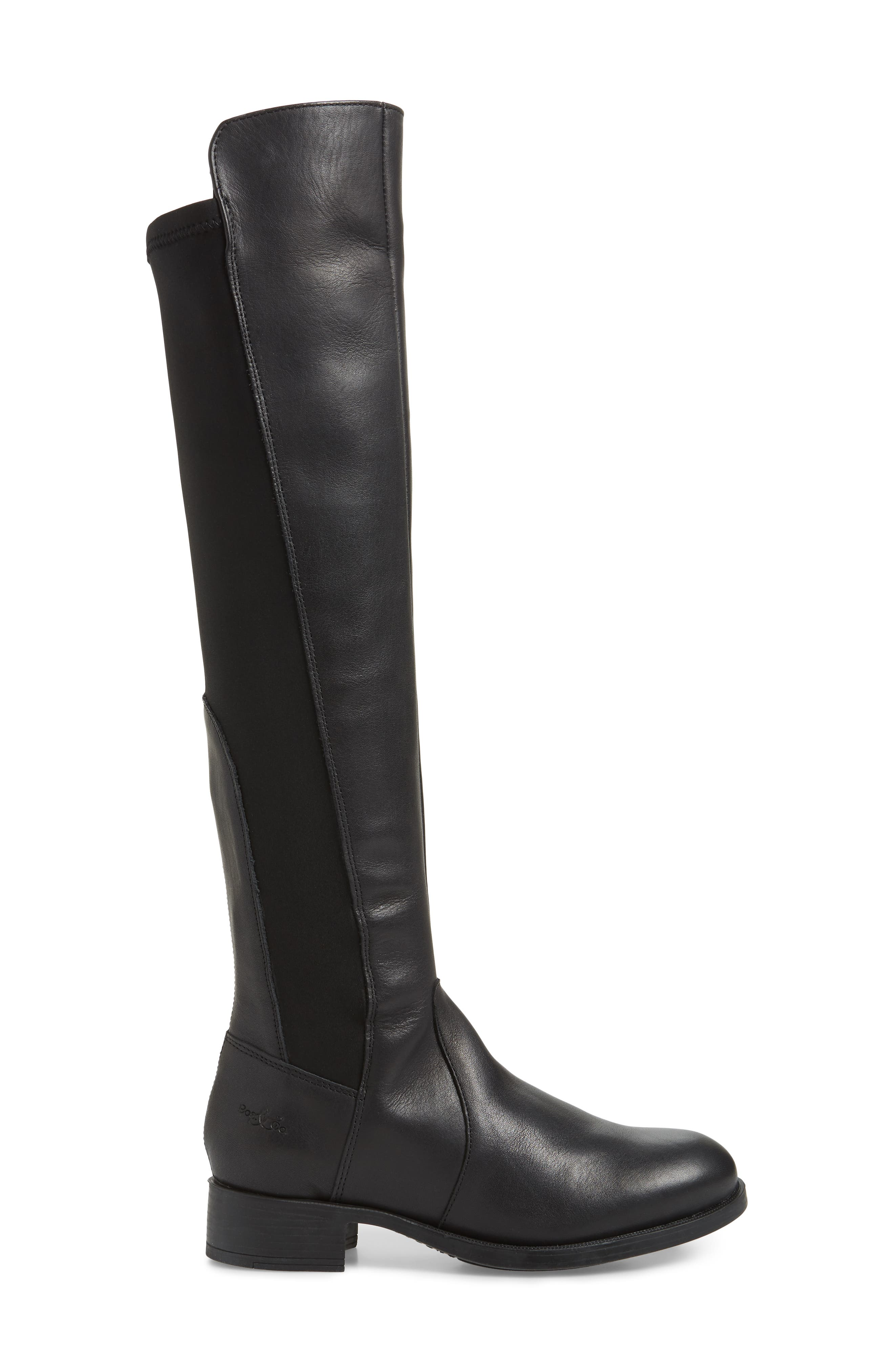 BOS. & CO.,                             Bunt Waterproof Over the Knee Boot,                             Alternate thumbnail 3, color,                             BLACK MELBOURNE/ LYCRA