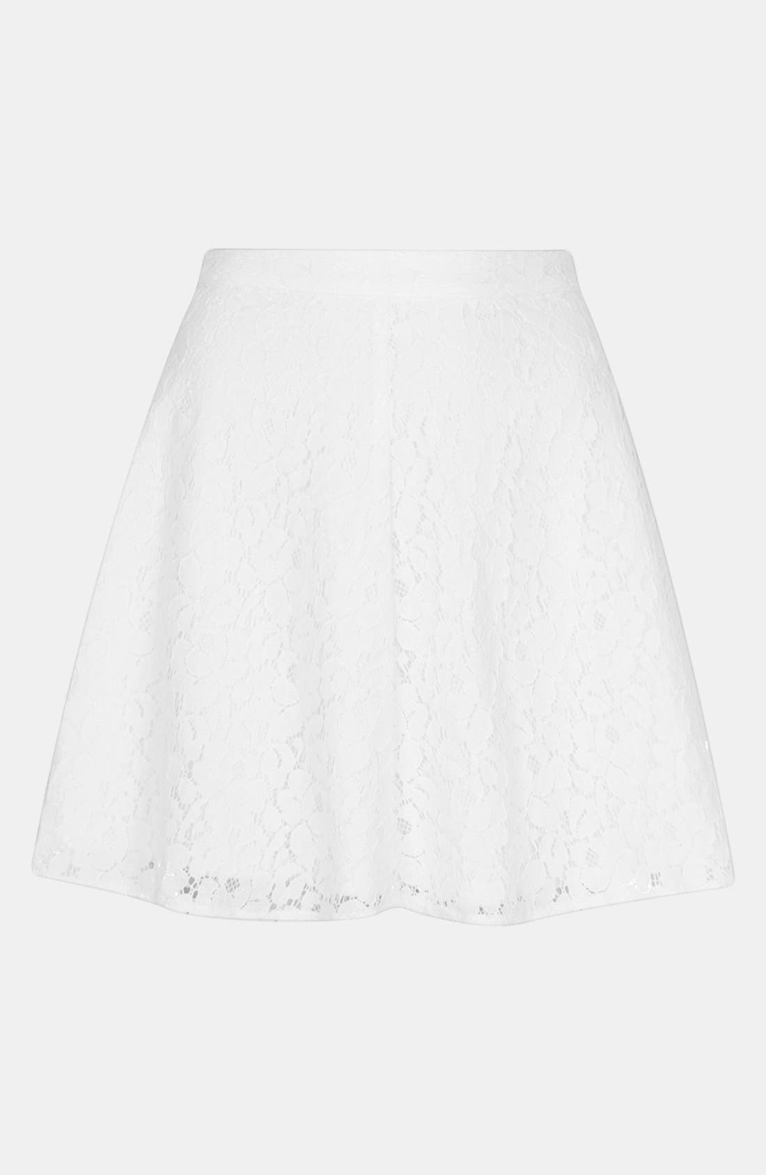 Lace Skater Skirt,                             Alternate thumbnail 3, color,                             100