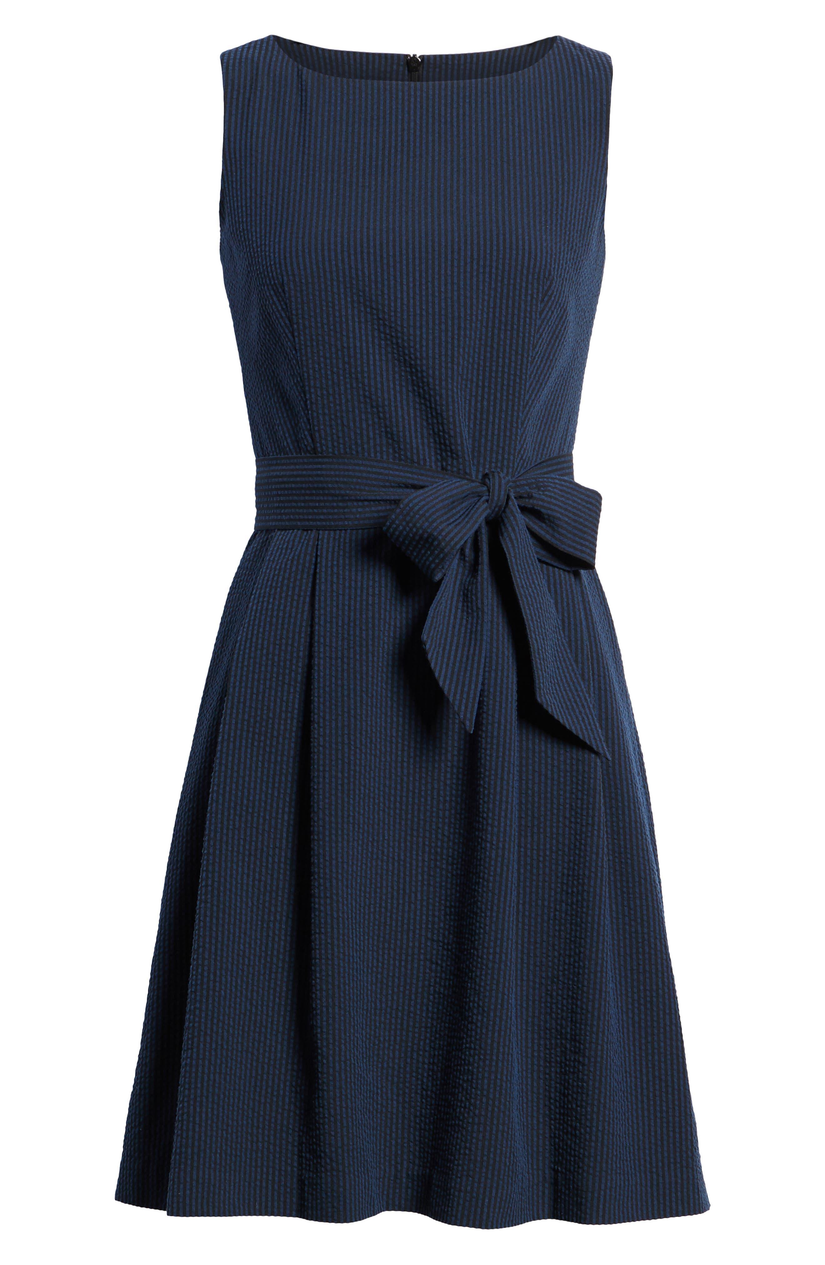 Seersucker Fit & Flare Dress,                             Alternate thumbnail 7, color,                             400