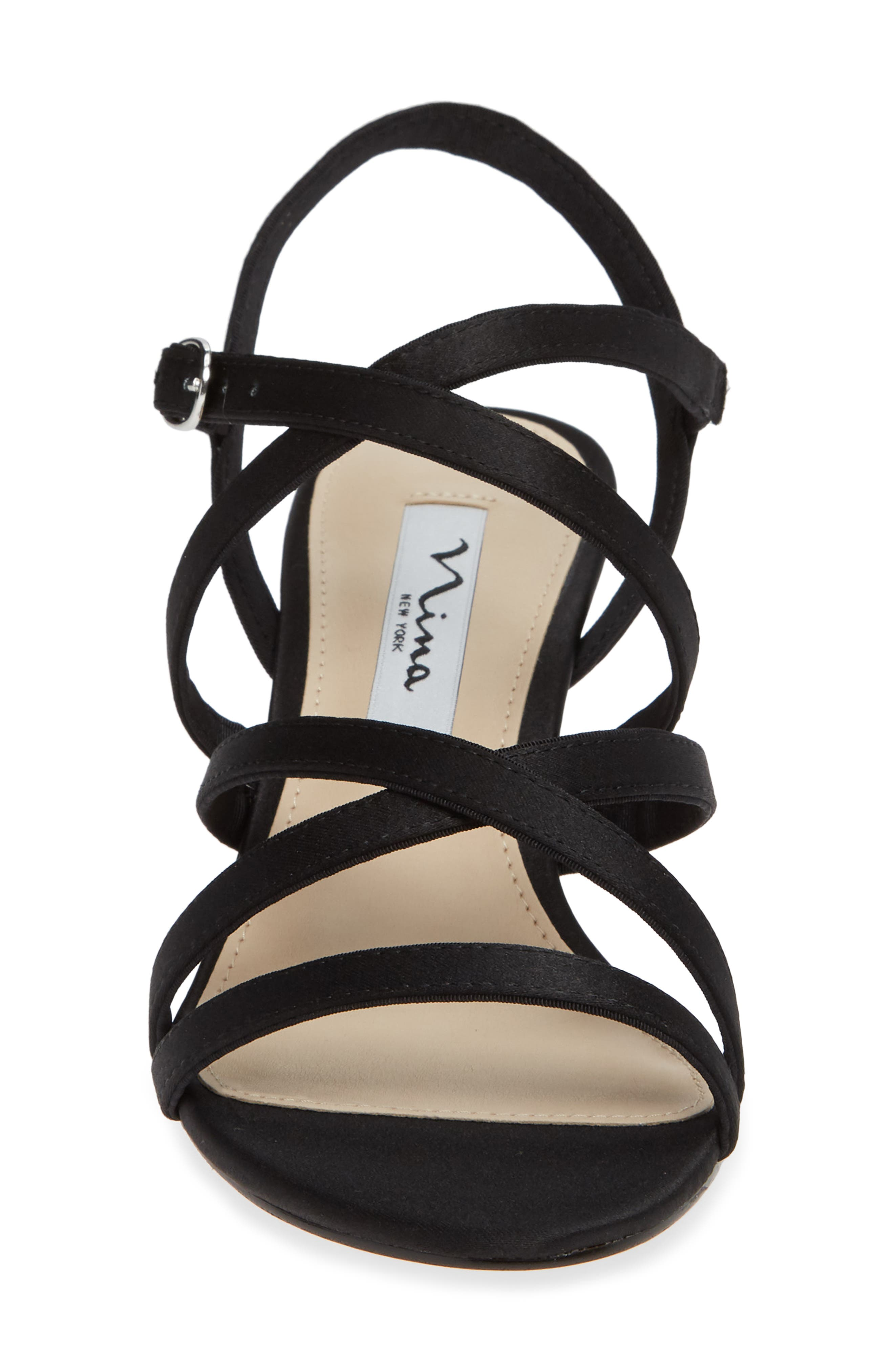 Genaya Strappy Evening Sandal,                             Alternate thumbnail 4, color,                             BLACK SATIN