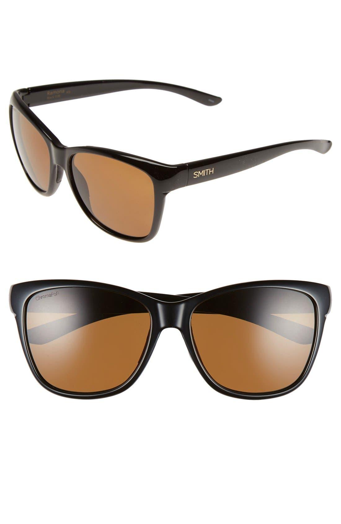 SMITH 'Ramona' 56mm ChromaPop Polarized Sunglasses, Main, color, 001