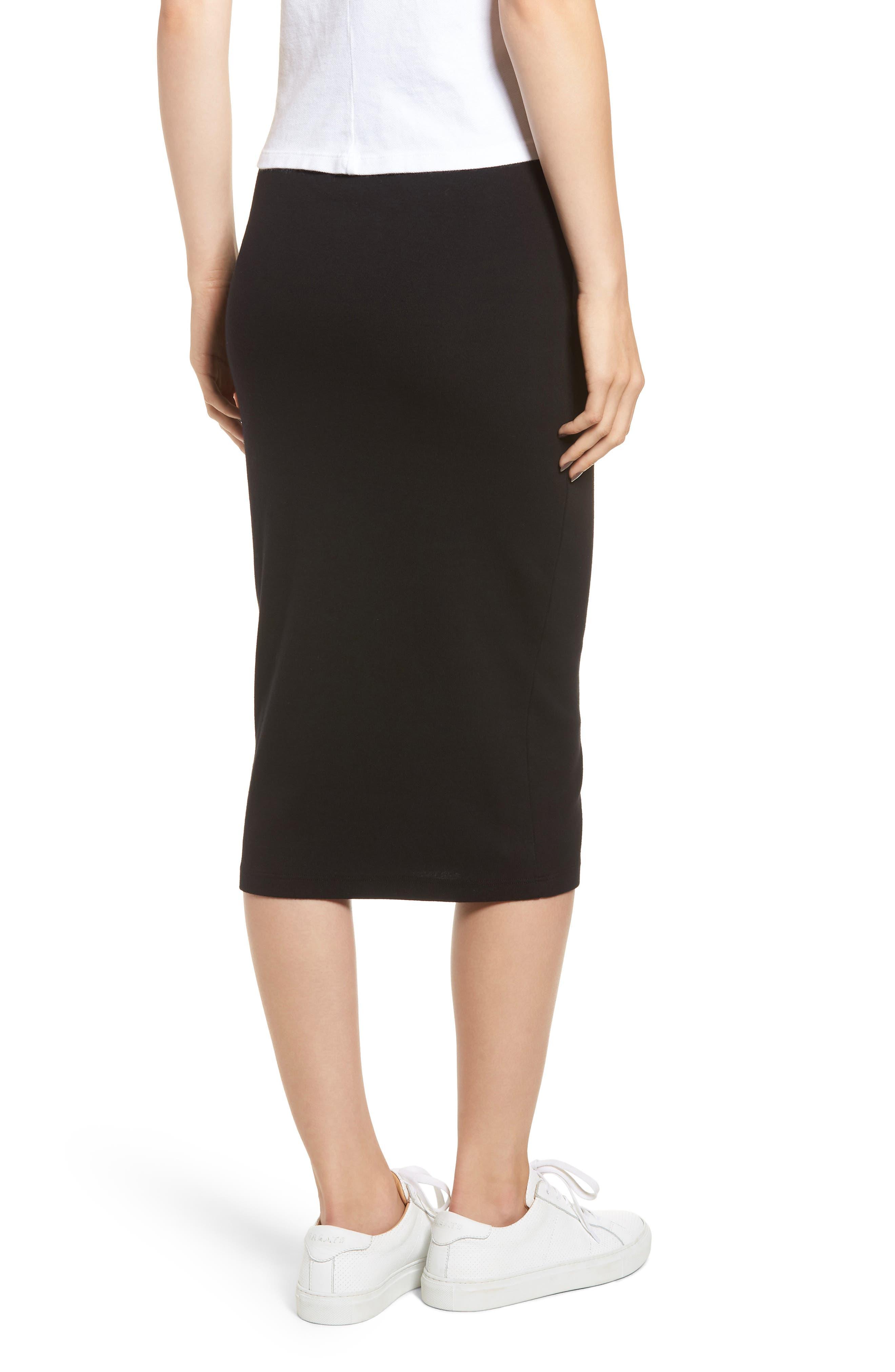 Stretch Cotton Midi Skirt,                             Alternate thumbnail 2, color,                             001
