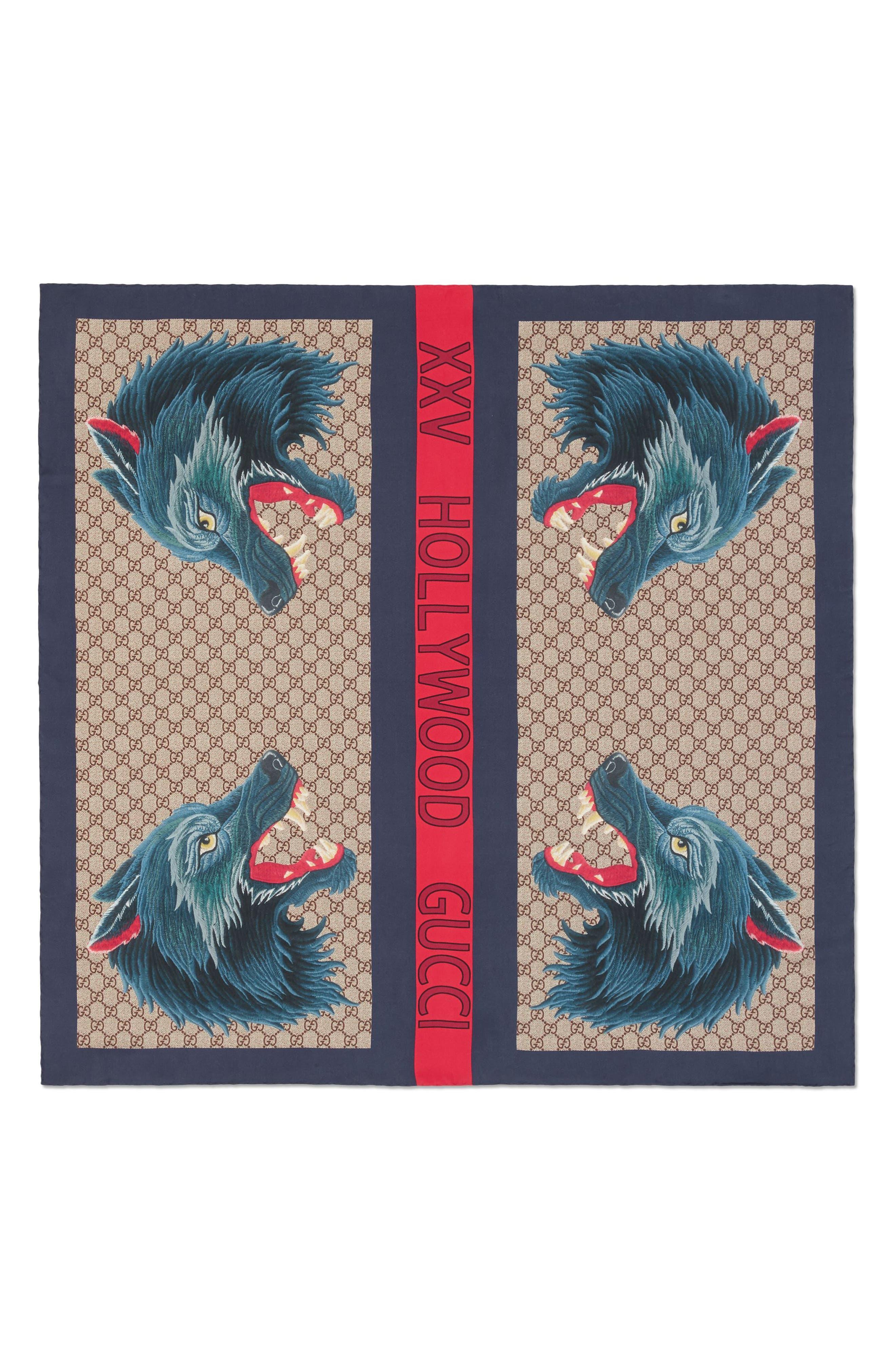 Foulard Web Wolf Silk Scarf,                             Alternate thumbnail 2, color,                             495