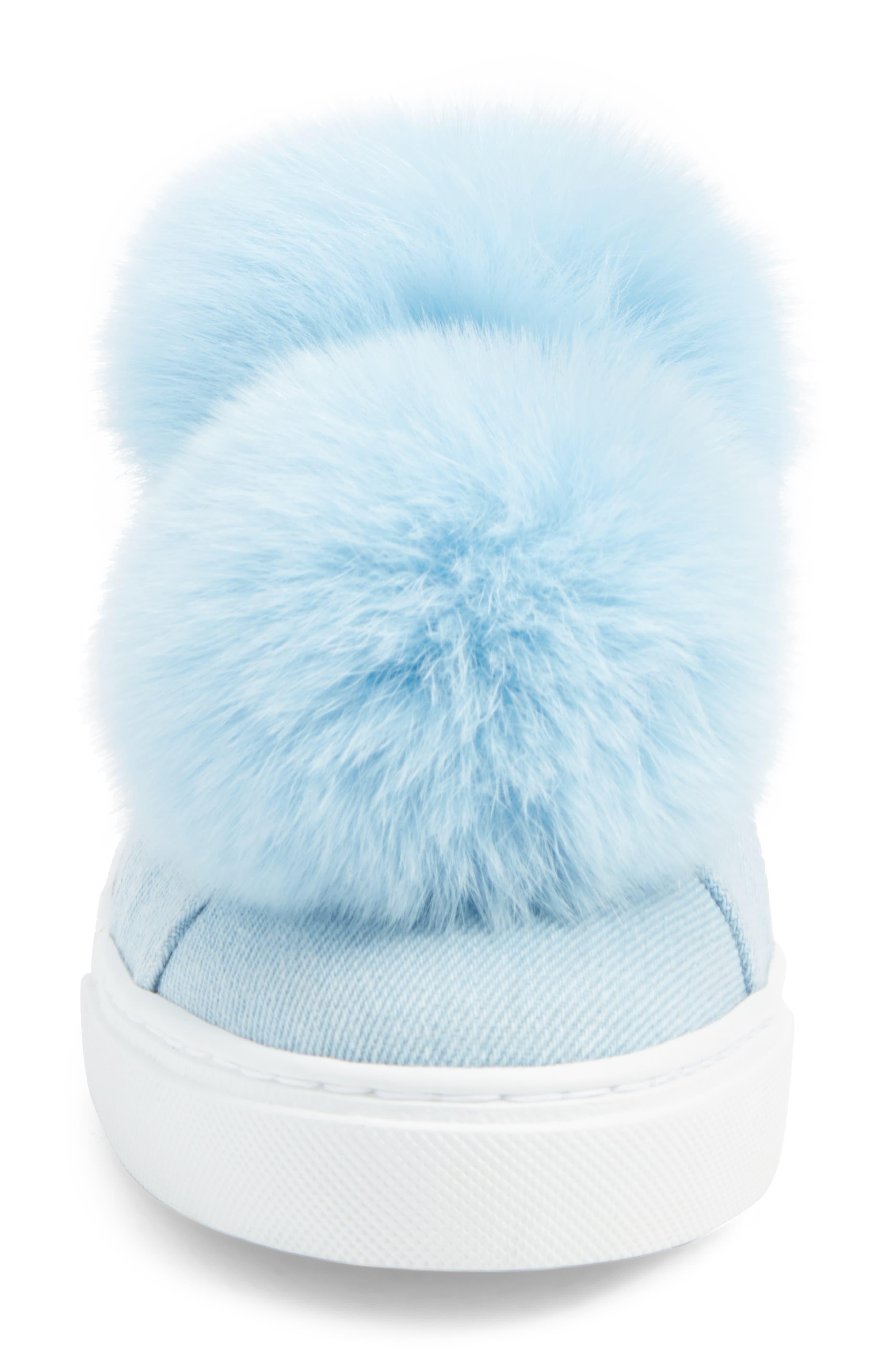 Stella Genuine Fox Fur Trim Platform Sneaker,                             Alternate thumbnail 4, color,                             400