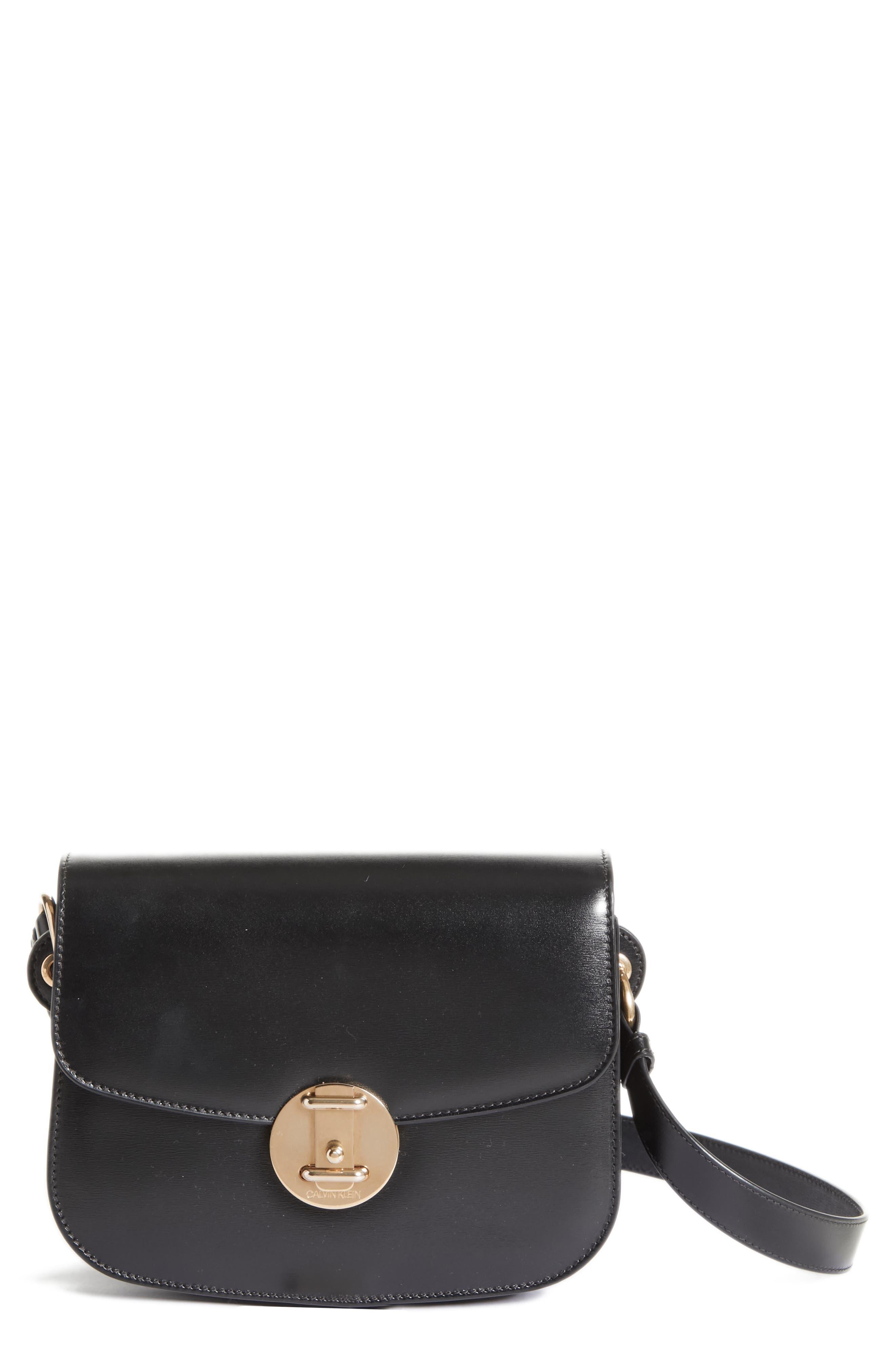 CALVIN KLEIN 209W39NYC Small Round Lock Shoulder Bag,                             Main thumbnail 1, color,                             BLACK