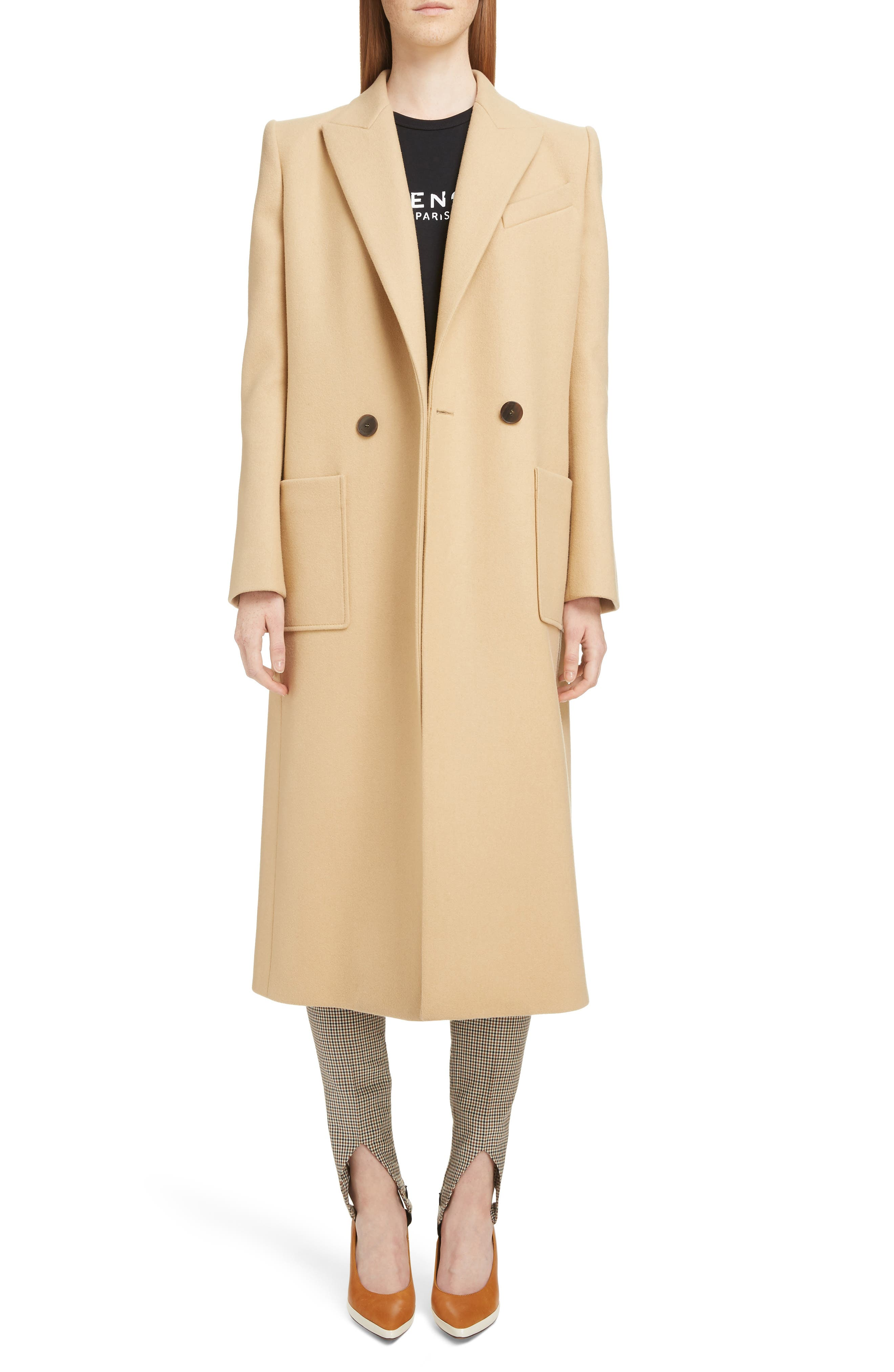 GIVENCHY,                             Double Breasted Wool Coat,                             Alternate thumbnail 6, color,                             250-BEIGE