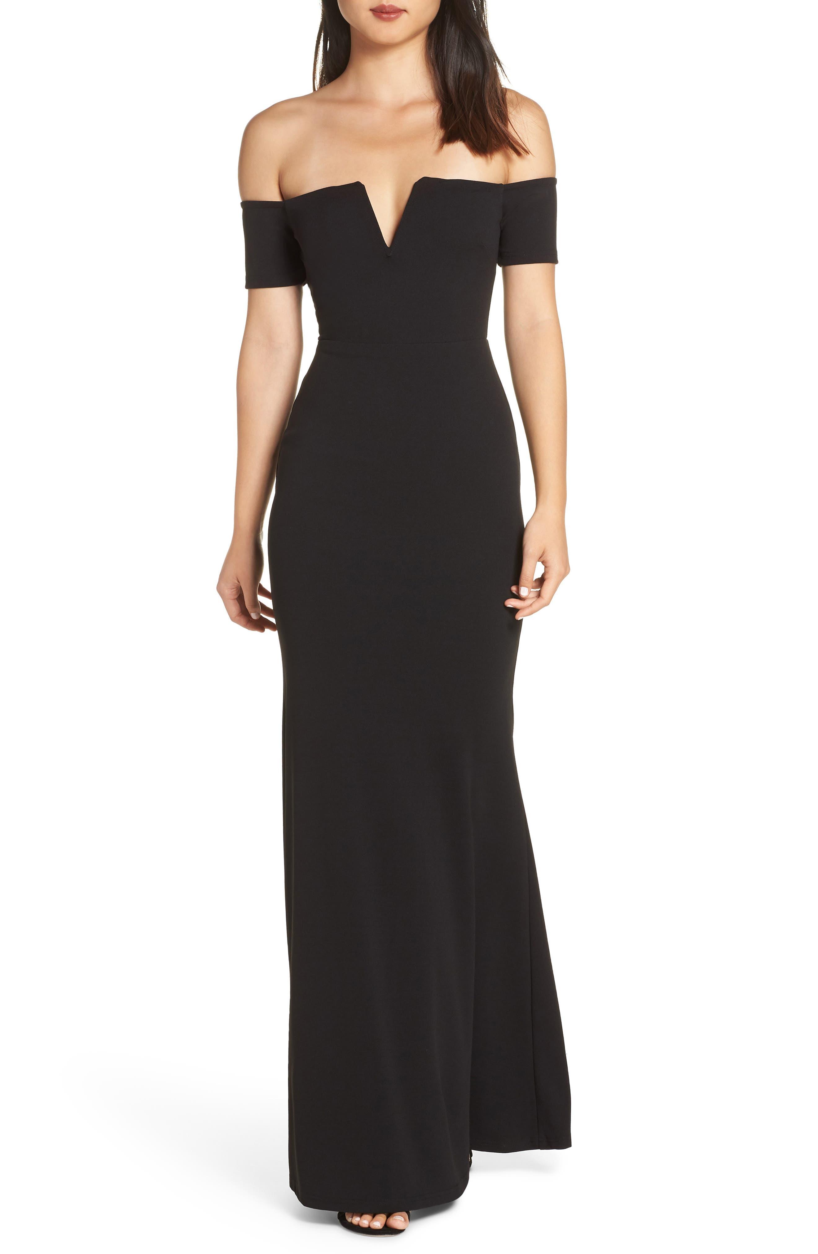 LULUS Lynne Off the Shoulder Gown, Main, color, BLACK