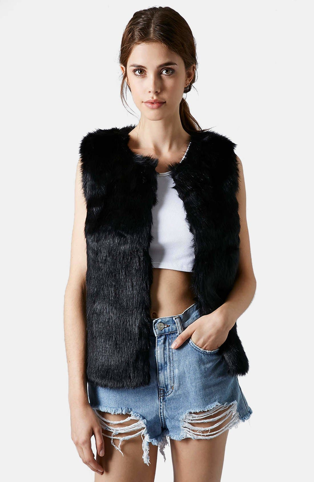 Faux Fur Gilet Vest,                             Main thumbnail 1, color,                             001