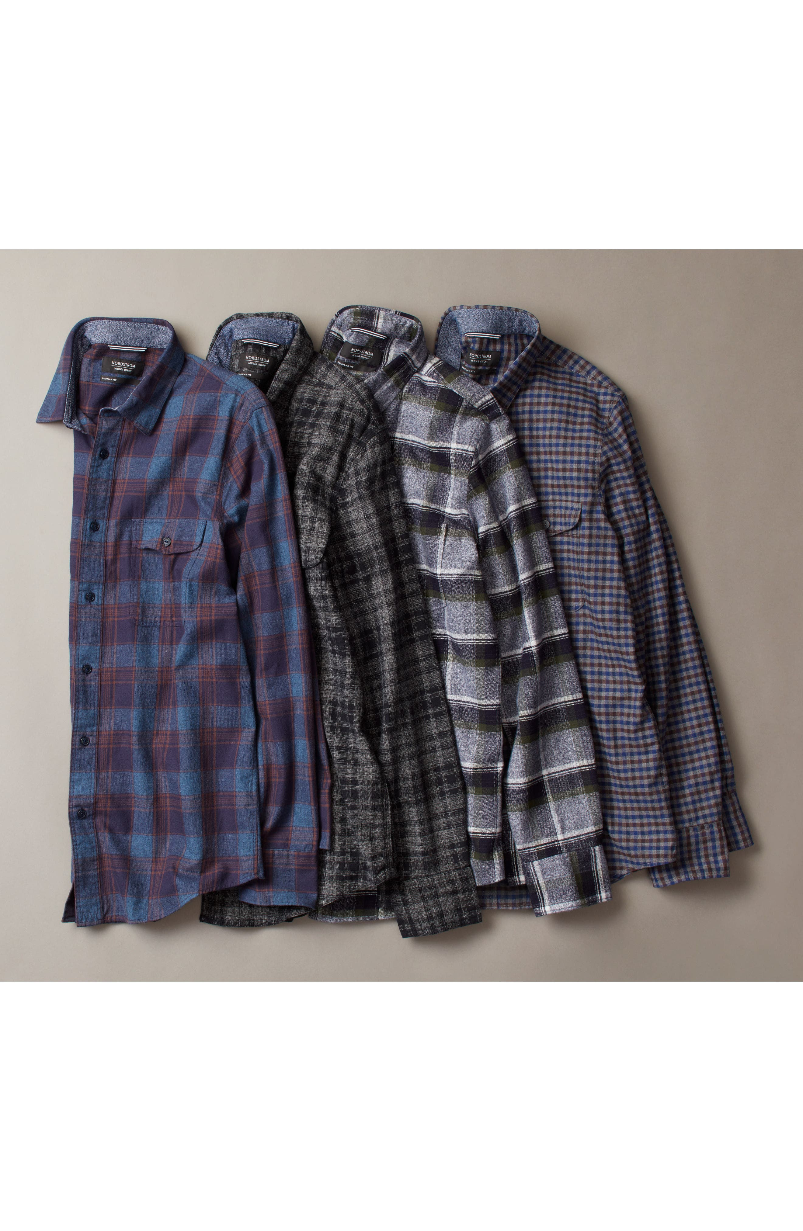 Regular Fit Lumber Check Flannel Shirt,                             Alternate thumbnail 7, color,                             030