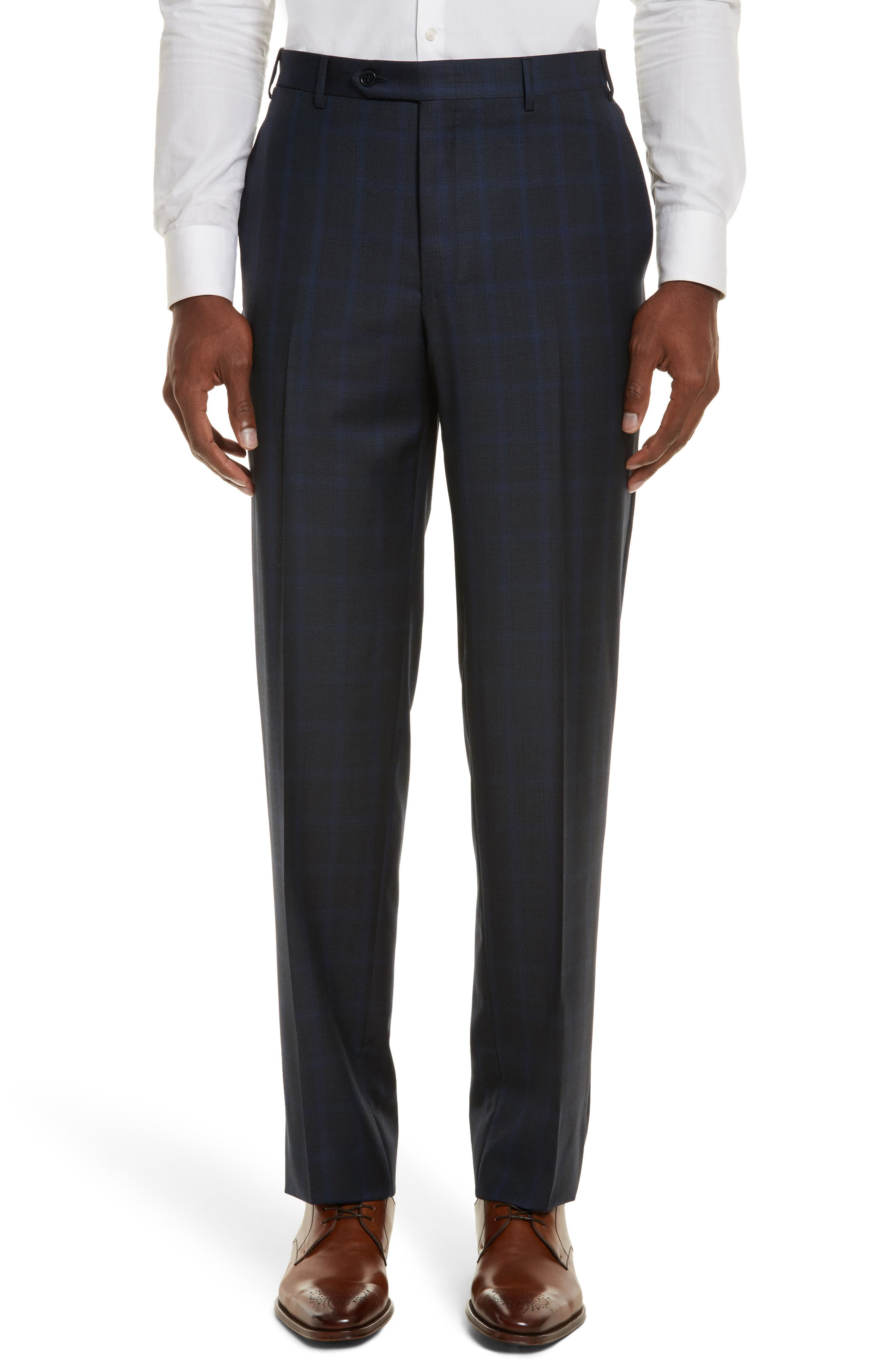Classic Fit Plaid Wool Suit,                             Alternate thumbnail 6, color,                             400