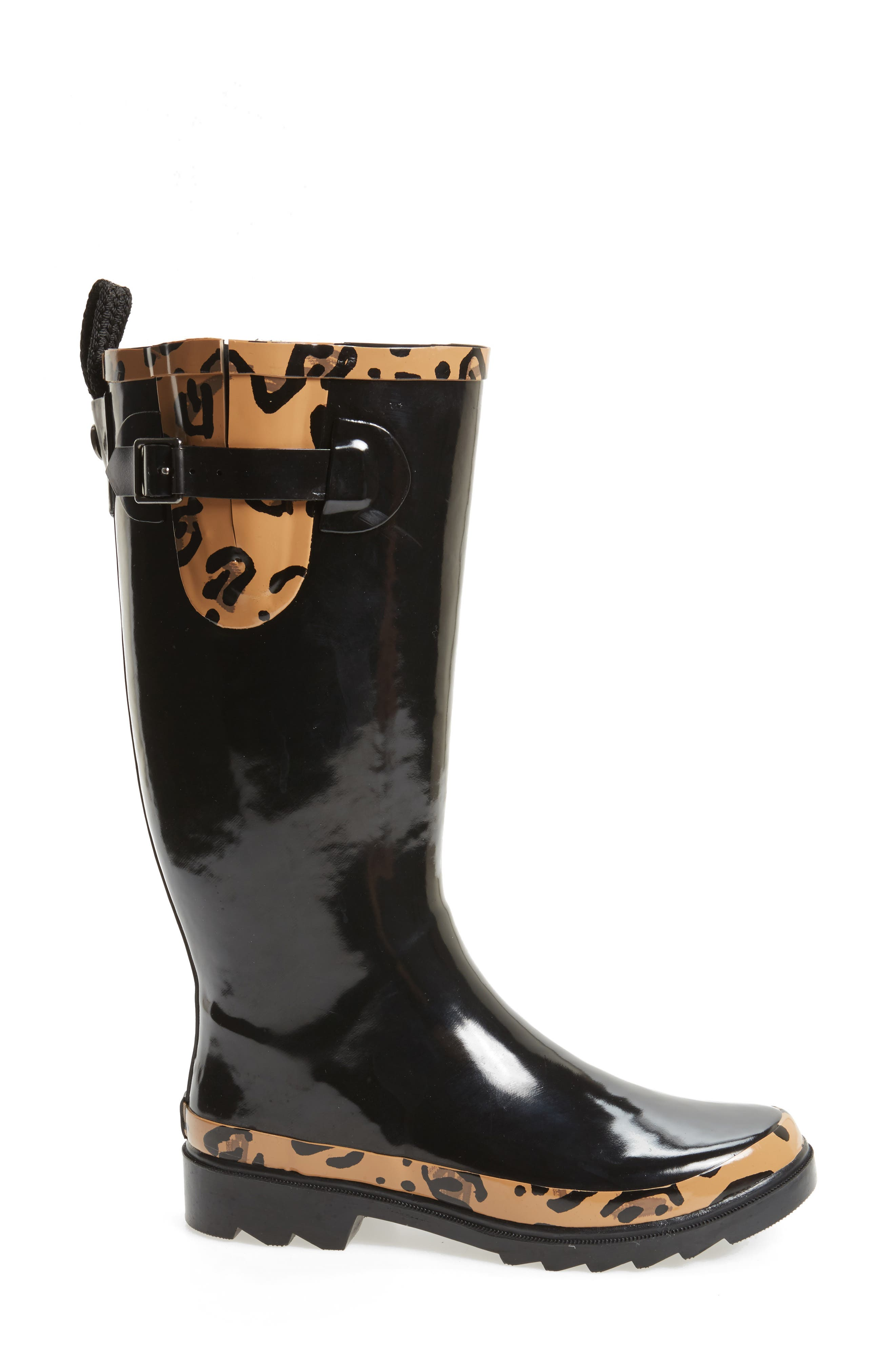 Rhythm Waterproof Rain Boot,                             Alternate thumbnail 3, color,                             BLACK LEOPARD PRINT