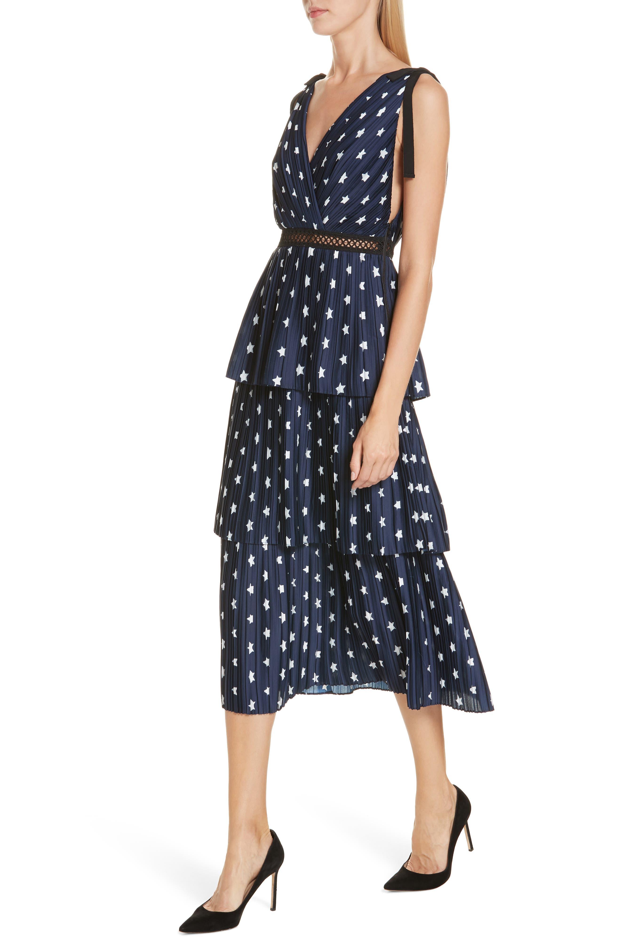 Star Print Tiered Midi Dress,                             Alternate thumbnail 4, color,                             400