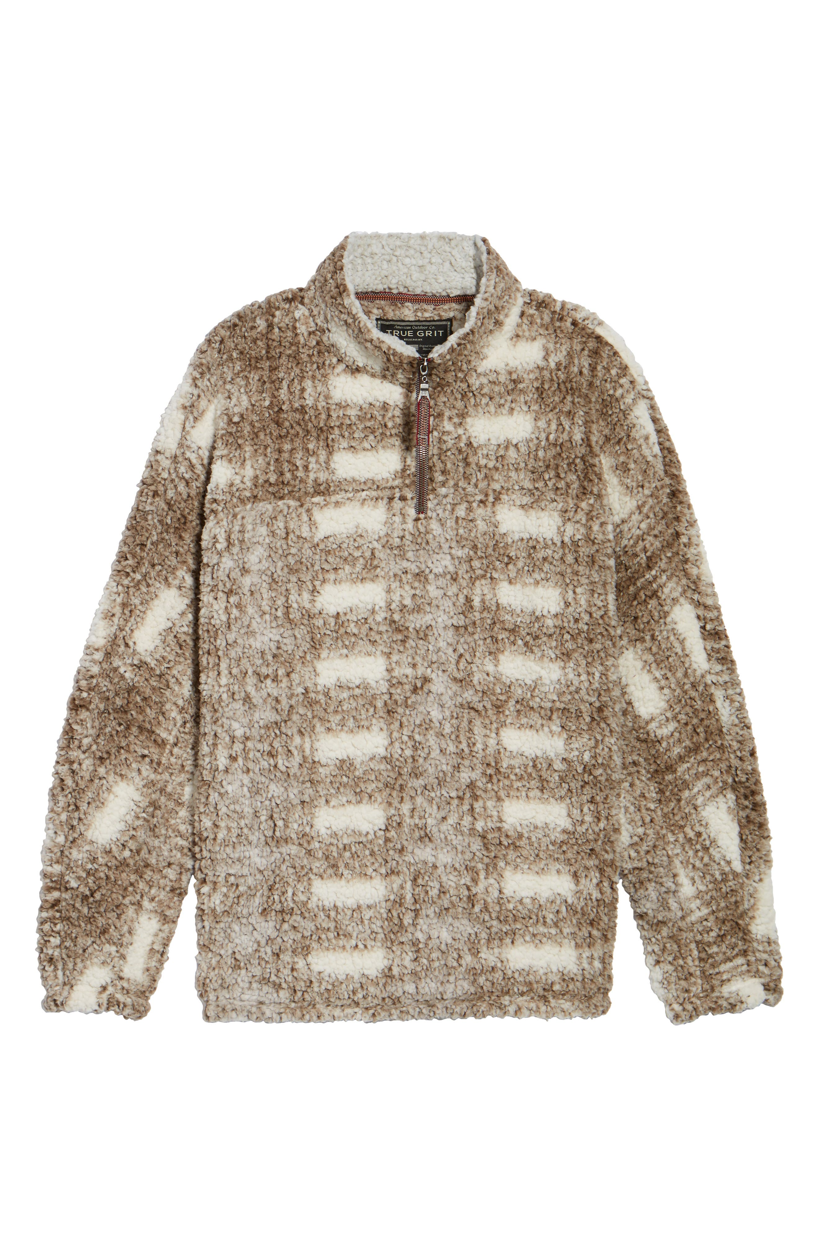 Big Plaid Frosty Tipped Faux Fur Pullover,                             Alternate thumbnail 6, color,                             200