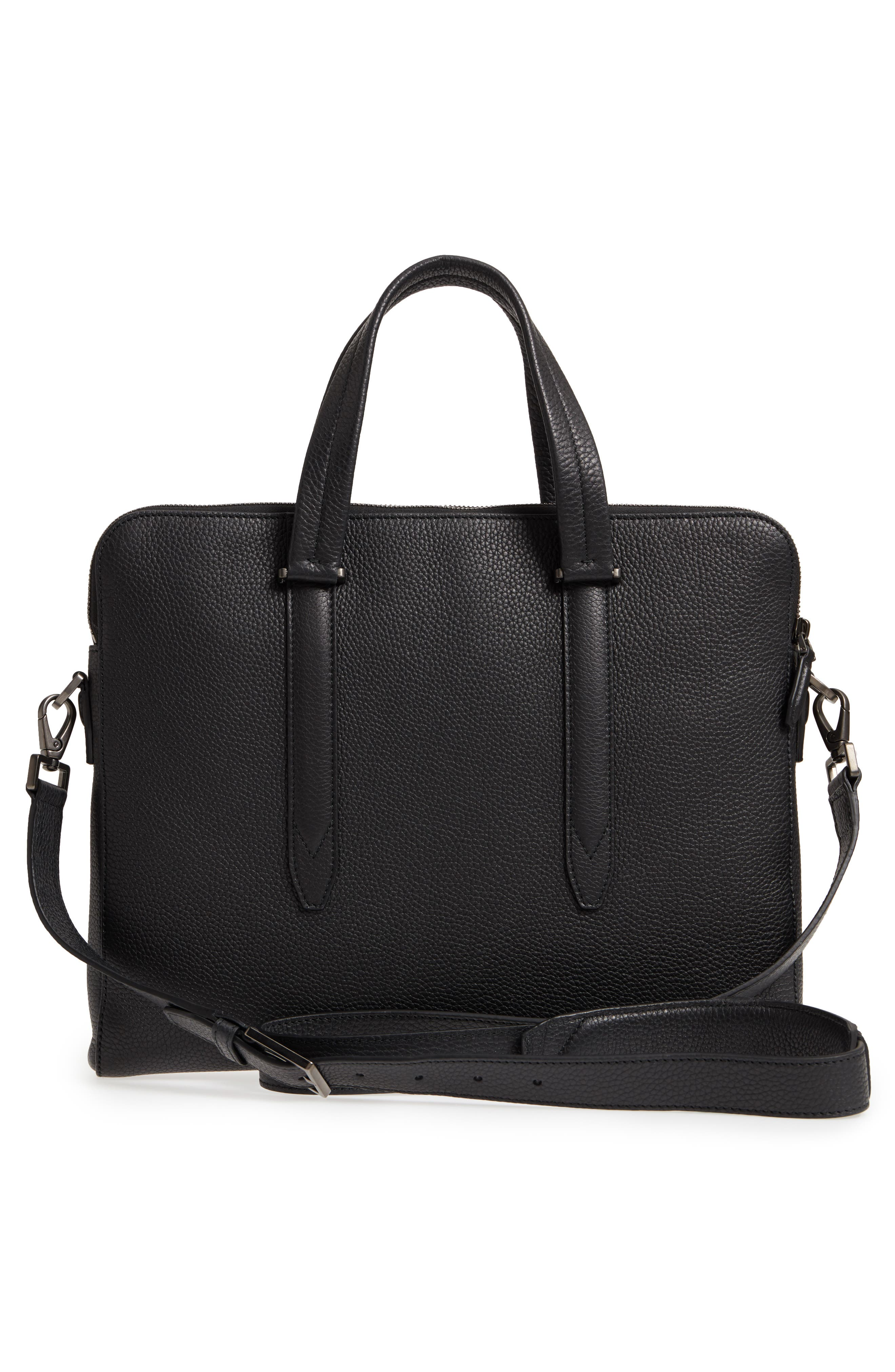 Firenze Leather Briefcase,                             Alternate thumbnail 3, color,                             BLACK