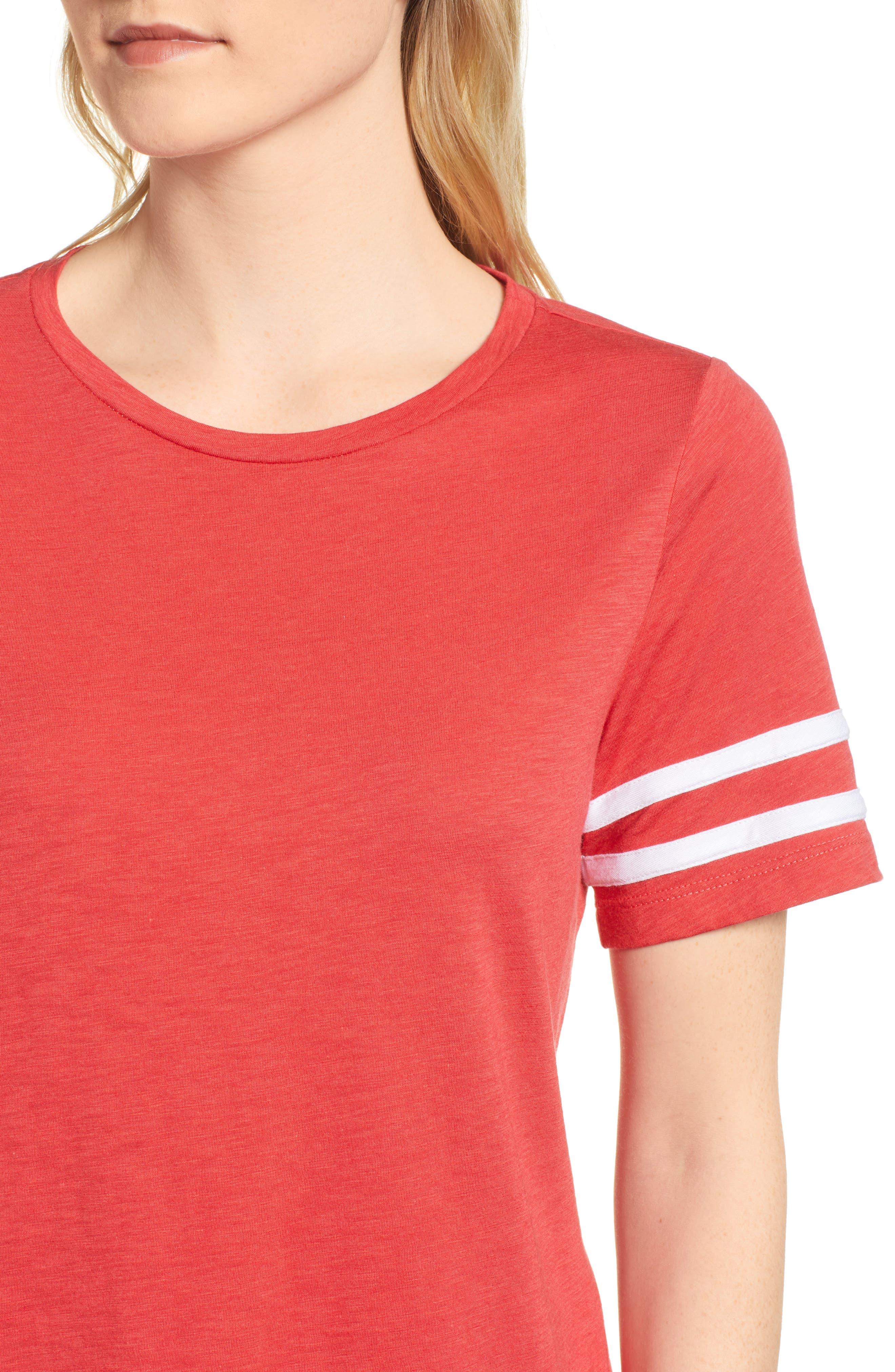 Stripe Sleeve Cotton Blend Athletic Tee,                             Alternate thumbnail 17, color,