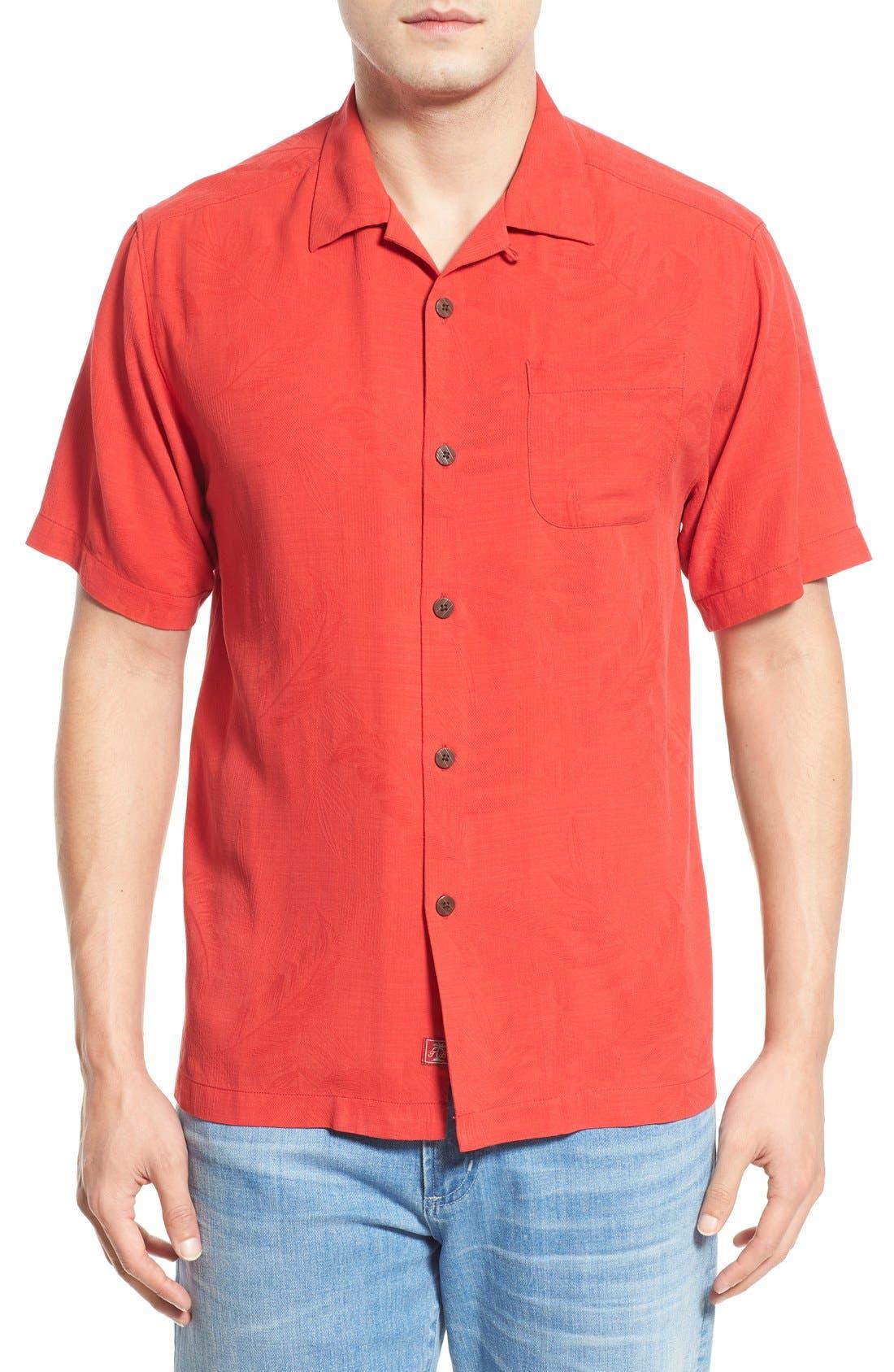 Rio Fronds Short Sleeve Silk Sport Shirt,                             Main thumbnail 16, color,