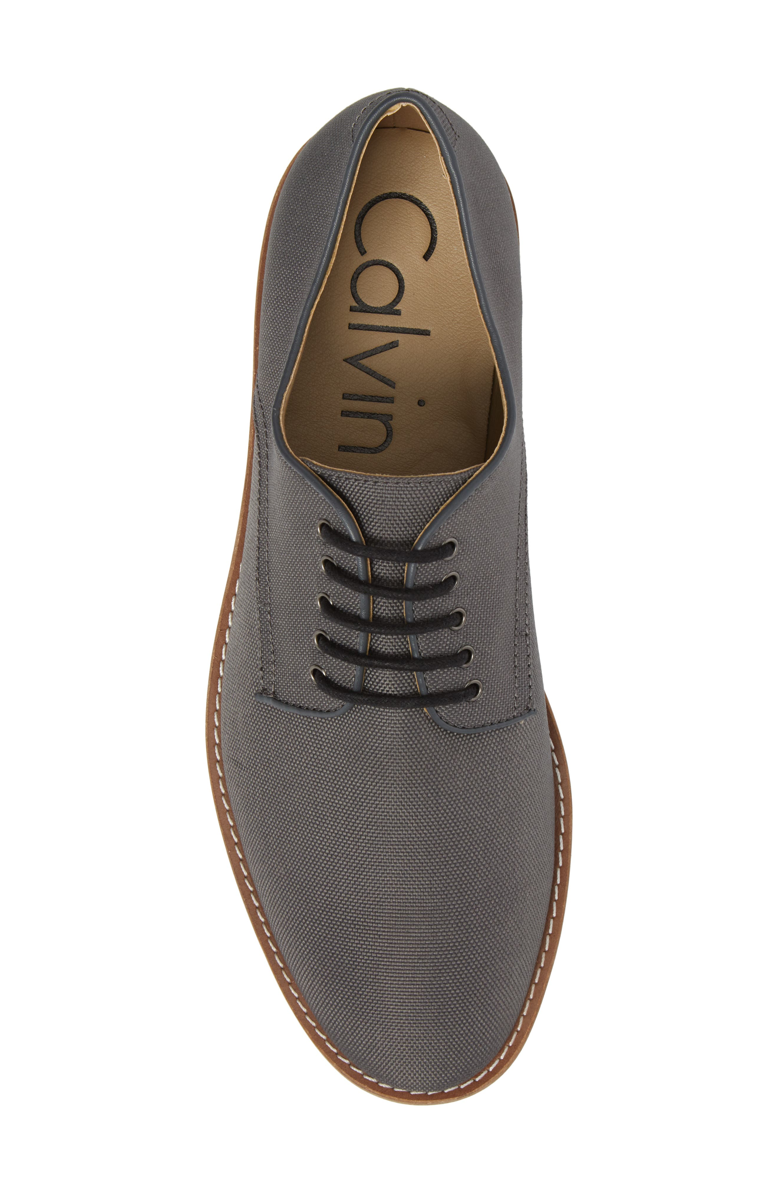 Atlee Plain Toe Derby,                             Alternate thumbnail 5, color,                             GREY SYNTHETIC