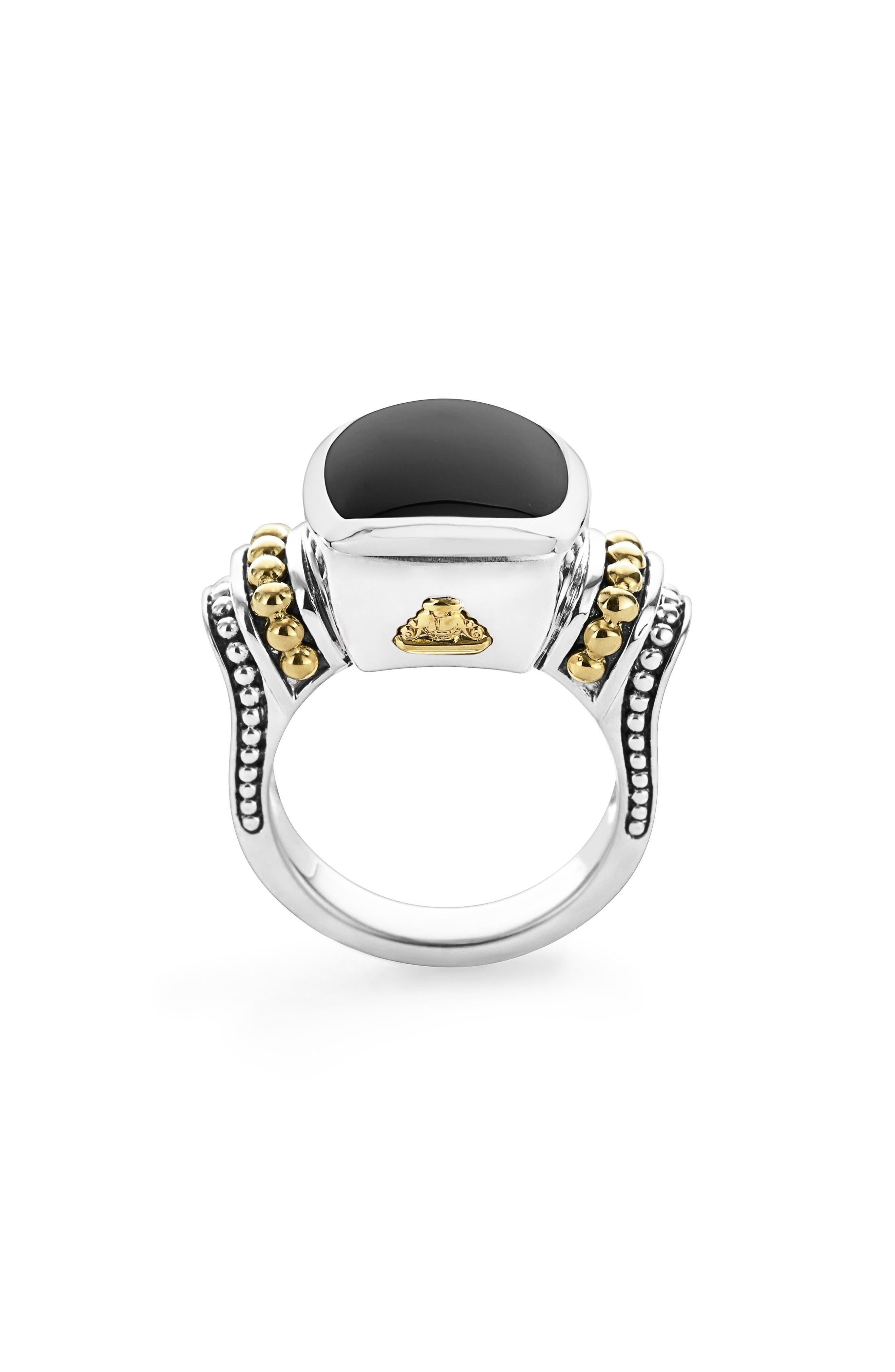 'Caviar Color' Medium Semiprecious Stone Ring,                             Alternate thumbnail 5, color,                             BLACK ONYX
