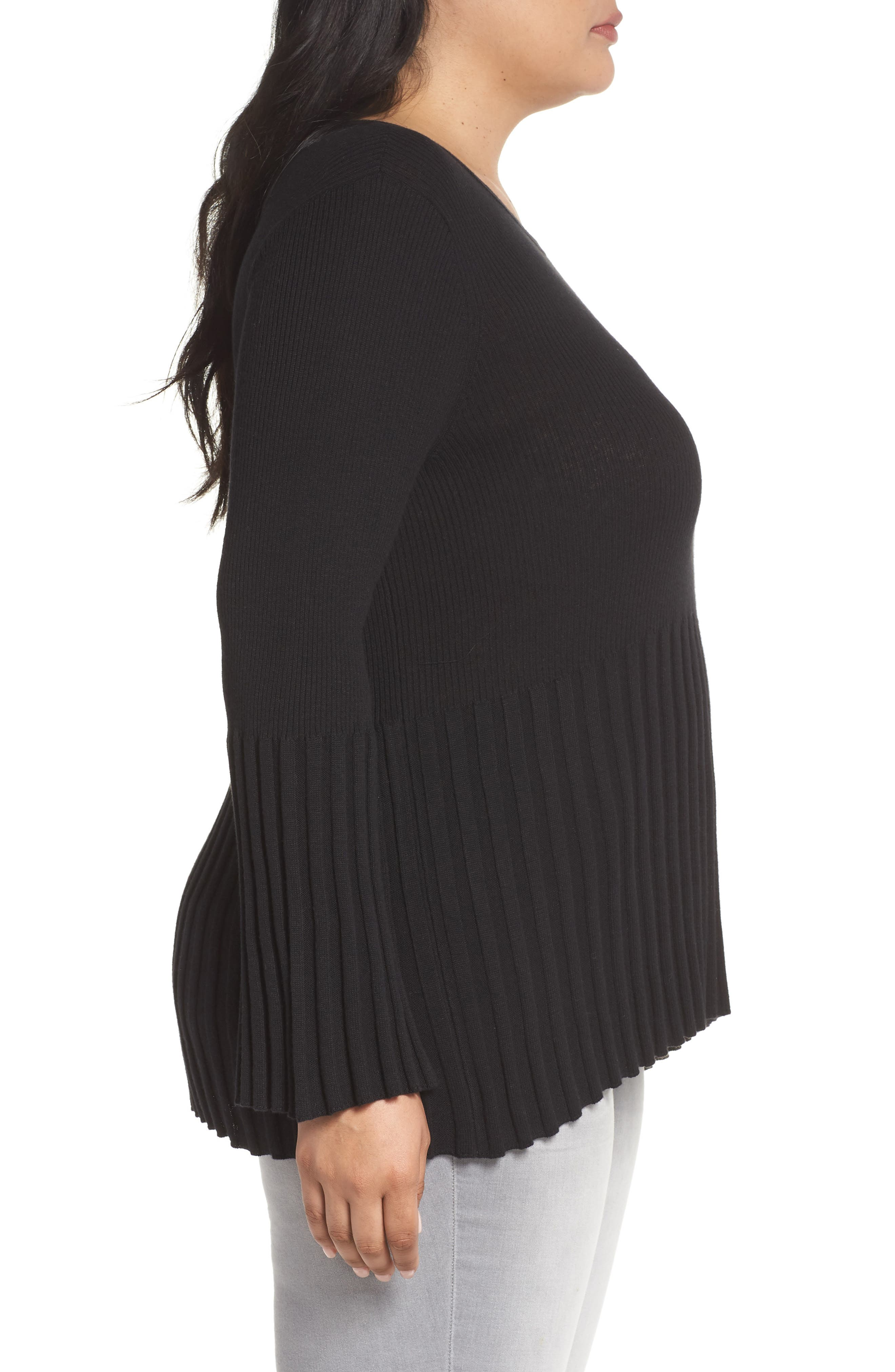 Ribbed Cotton Blend Sweater,                             Alternate thumbnail 3, color,                             001