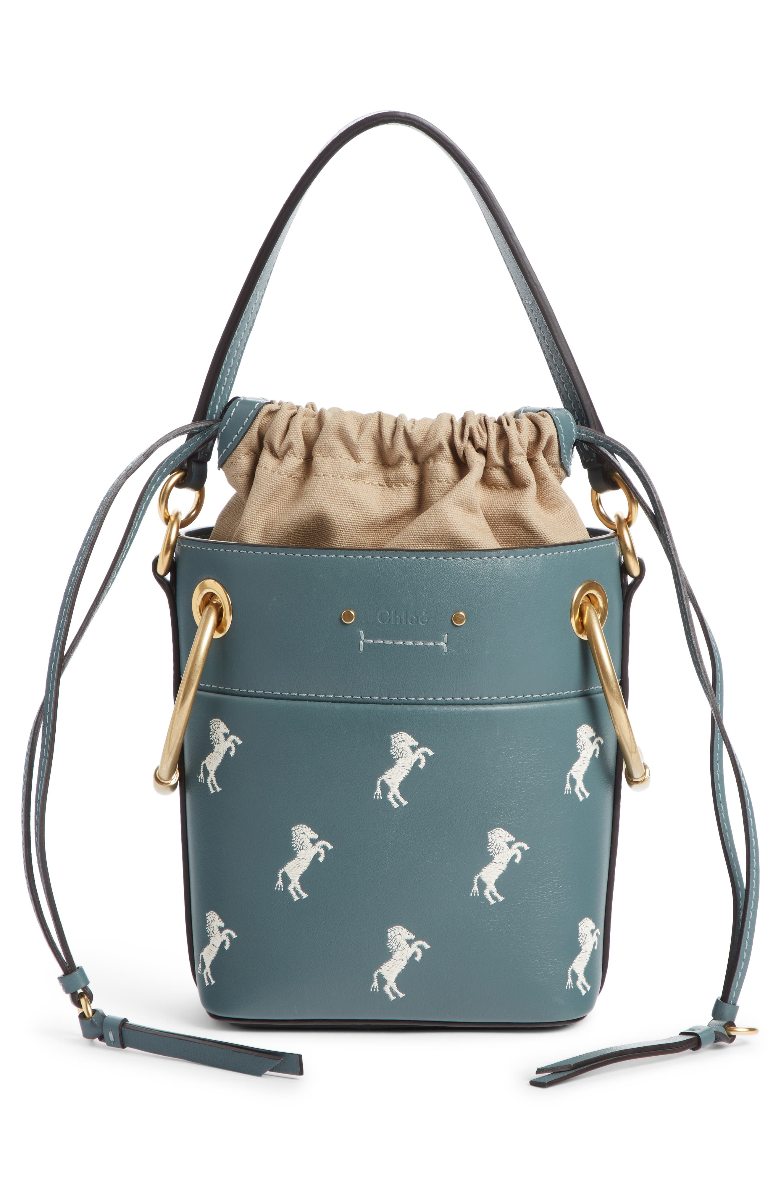 Roy Mini Embroidered Leather Bucket Bag,                             Alternate thumbnail 3, color,                             FULL BLUE