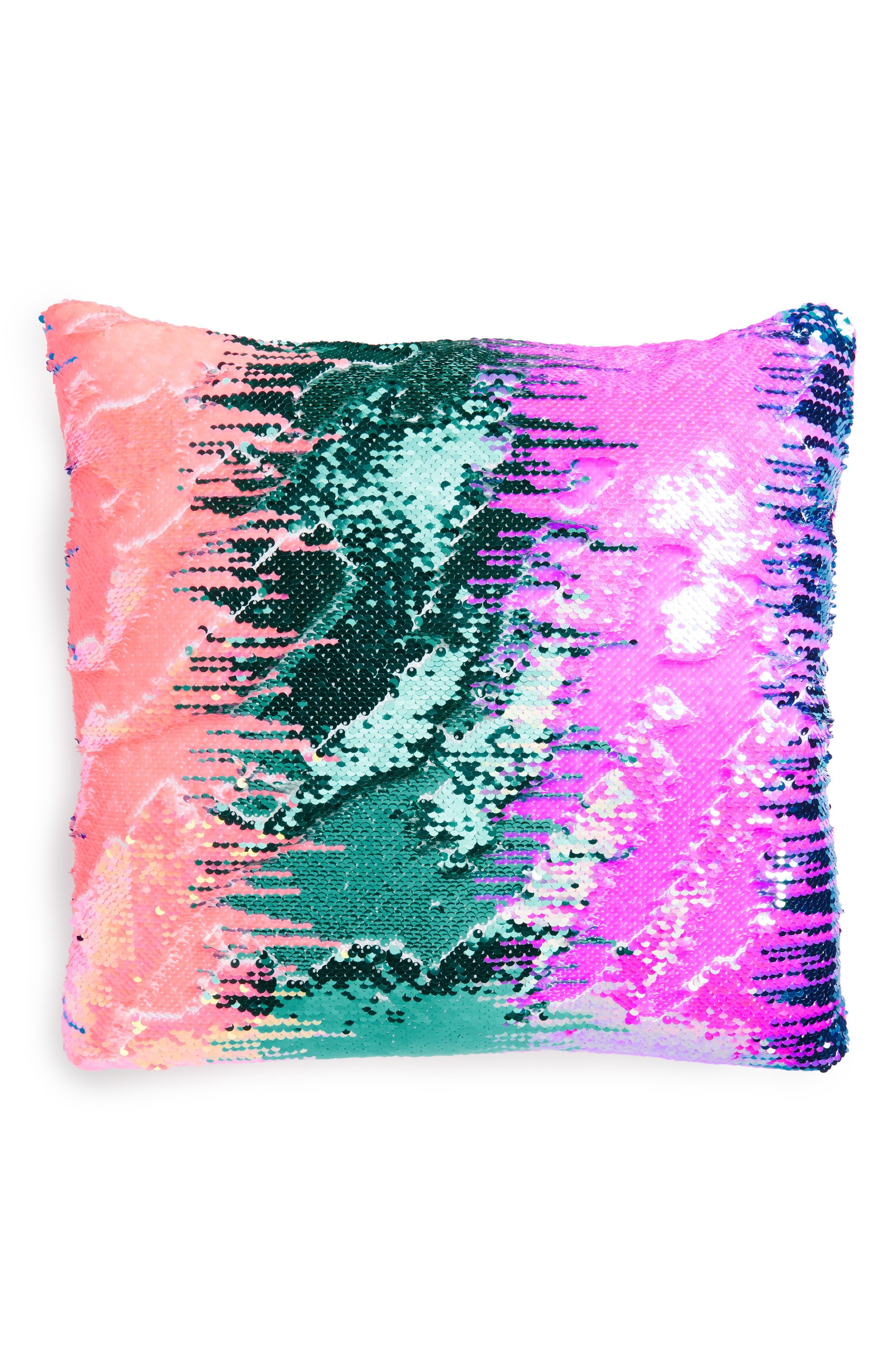 Magic Flip Sequin Velvet Accent Pillow,                             Main thumbnail 1, color,                             GRADIENT