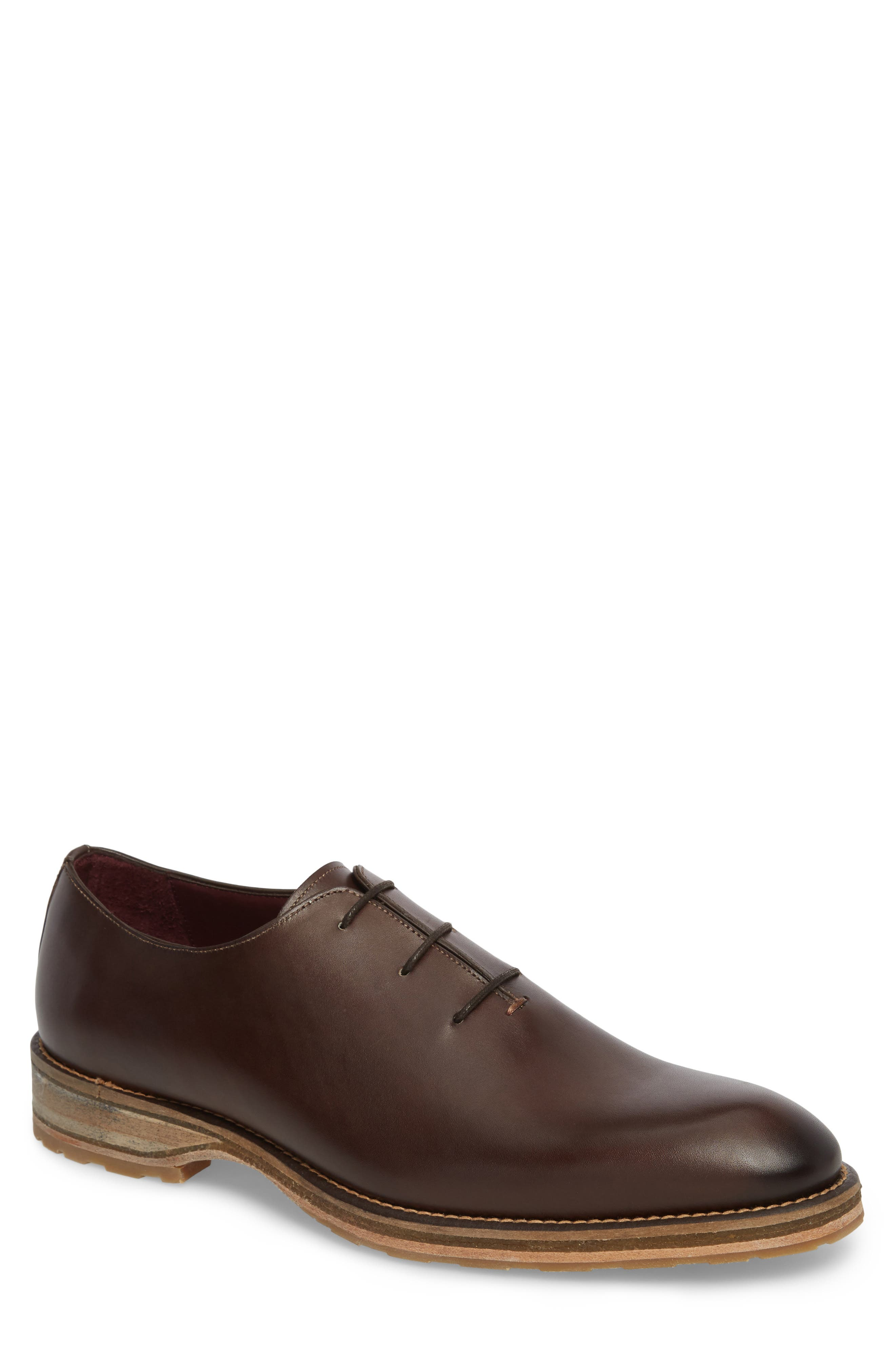 Pego Wholecut Oxford,                         Main,                         color, DARK BROWN LEATHER
