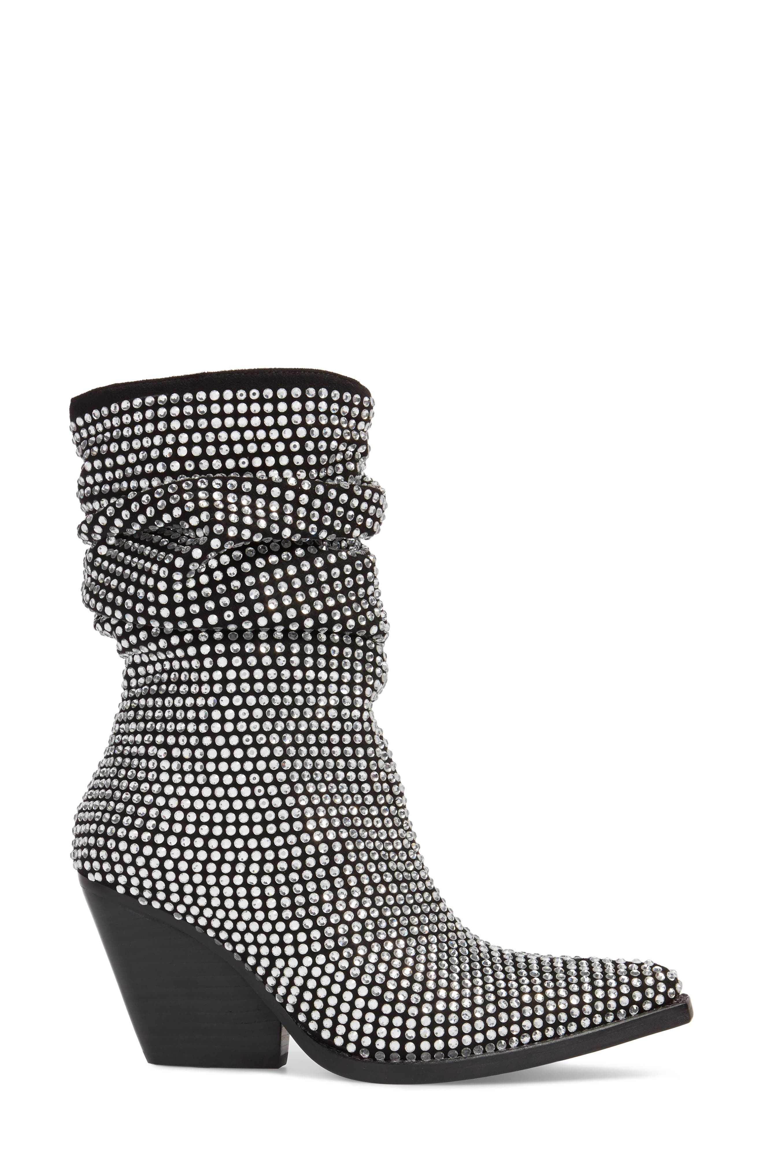 Controll Crystal Studded Slouch Boot,                             Alternate thumbnail 3, color,                             BLACK SUEDE SILVER