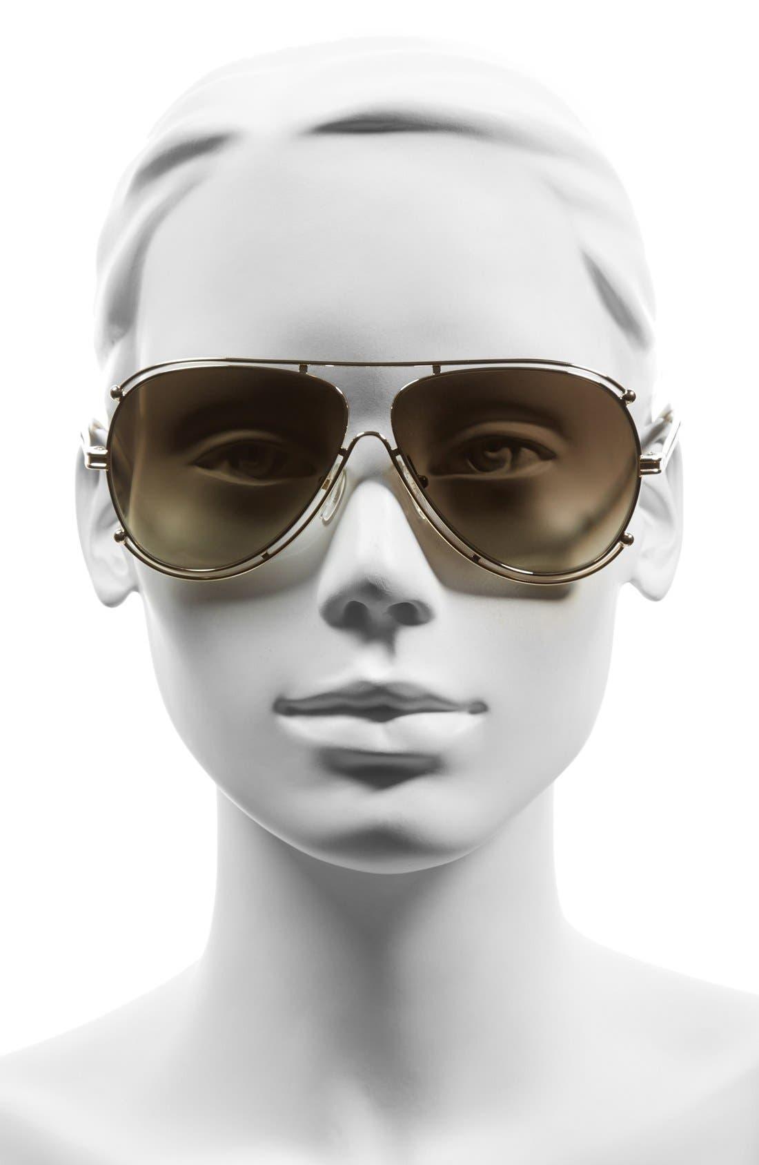 CHLOÉ,                             'Isidora' 61mm Aviator Sunglasses,                             Alternate thumbnail 2, color,                             710