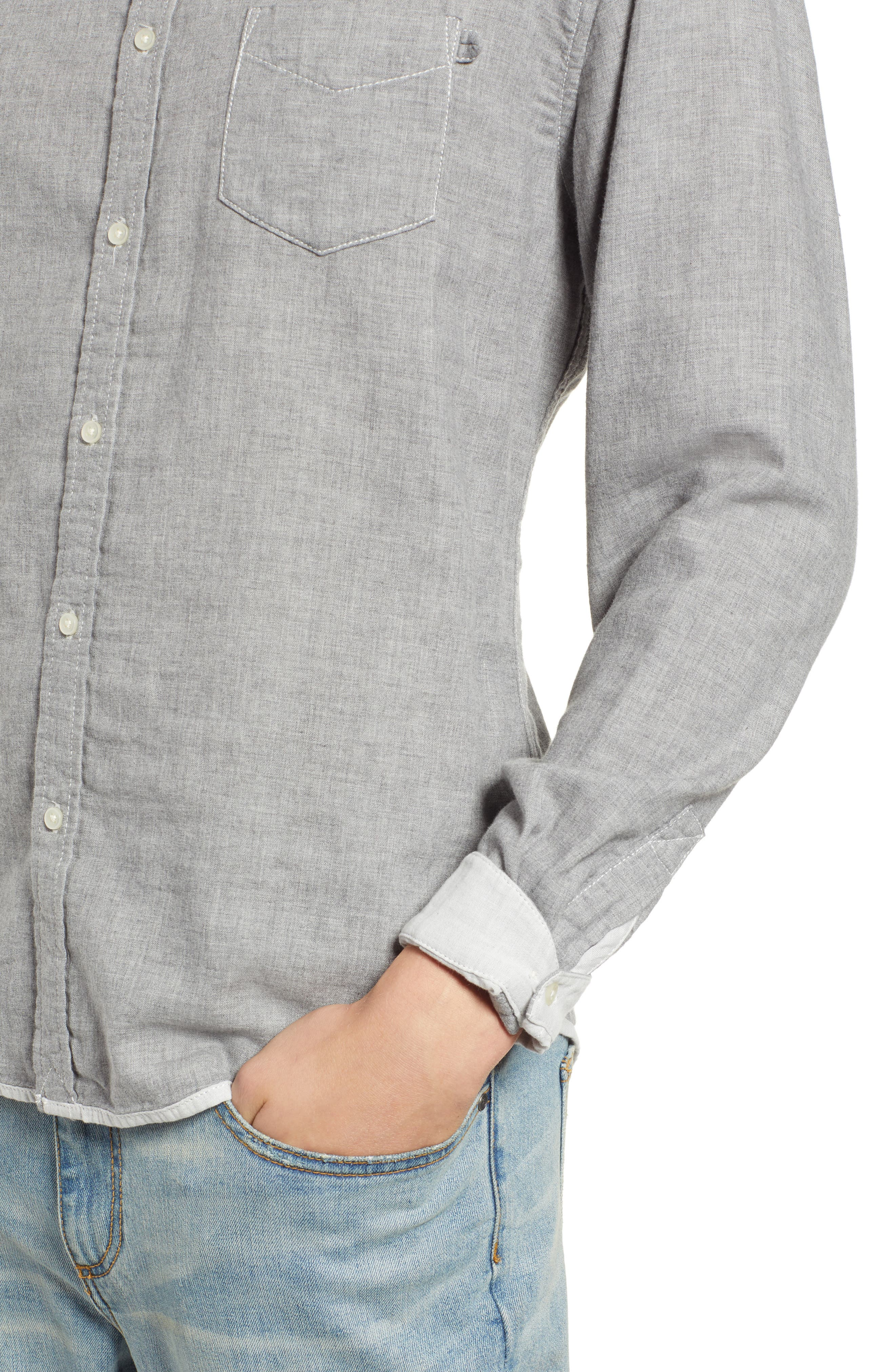 Ithaca Slim Fit Chambray Sport Shirt,                             Alternate thumbnail 2, color,                             HEATHER GREY