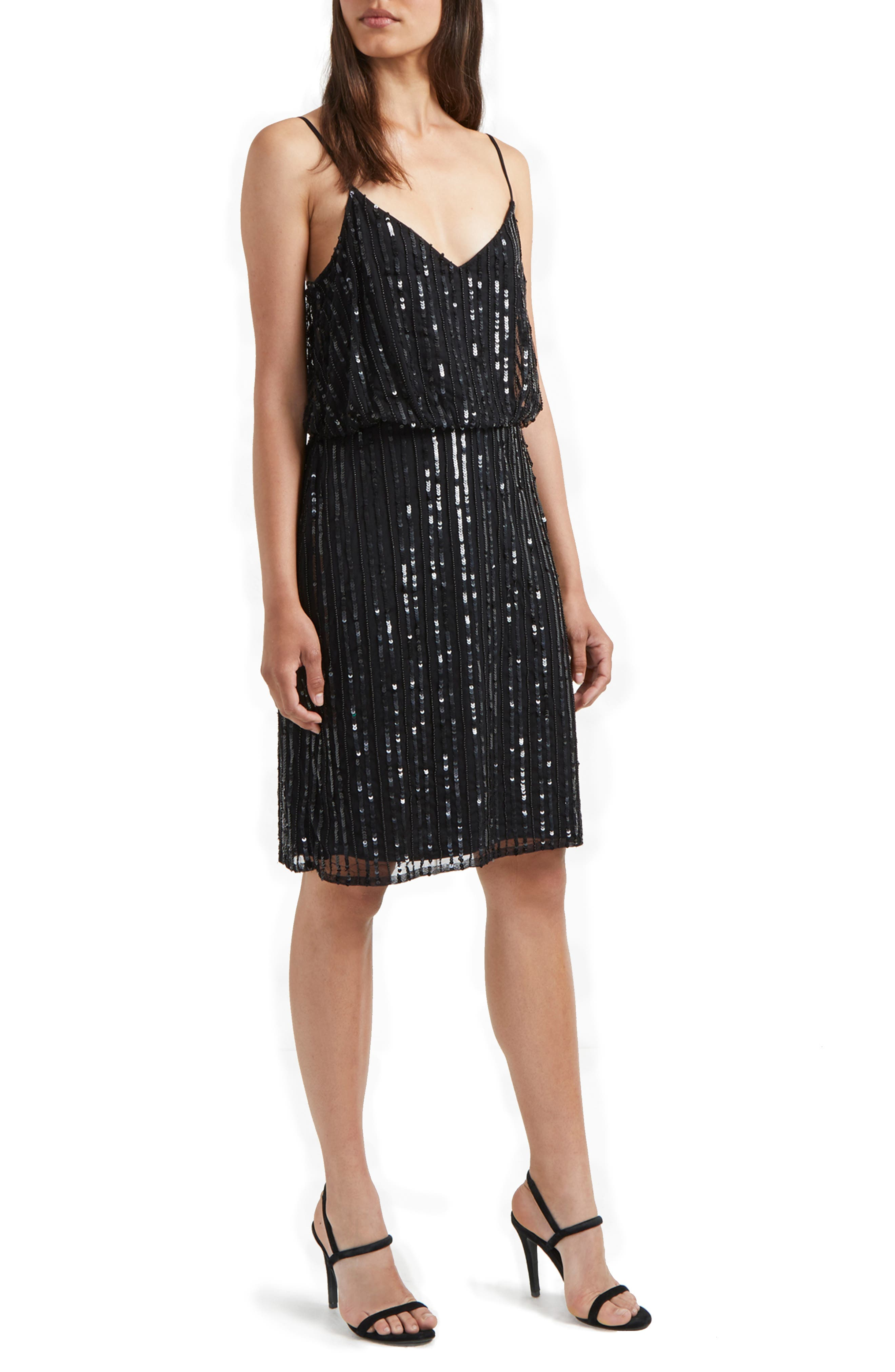 French Connection Aster Shine Slipdress, Black