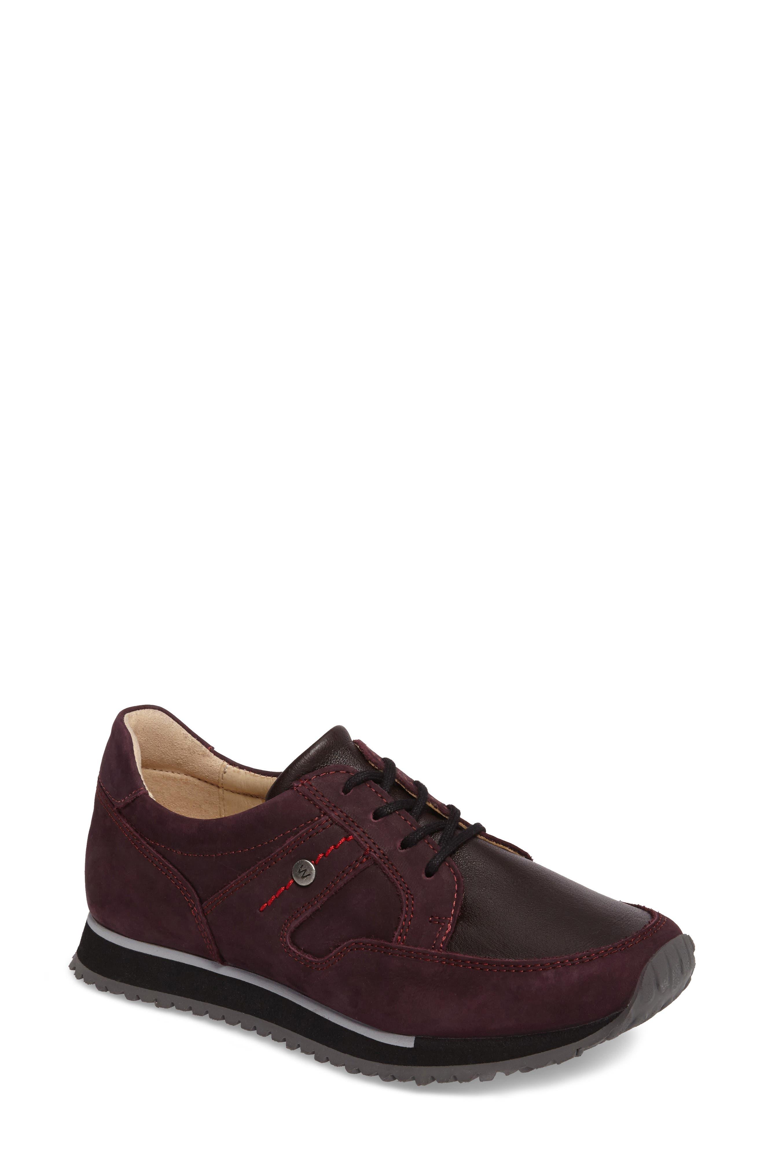 E-Walk Sneaker,                             Main thumbnail 1, color,                             BORDO LEATHER