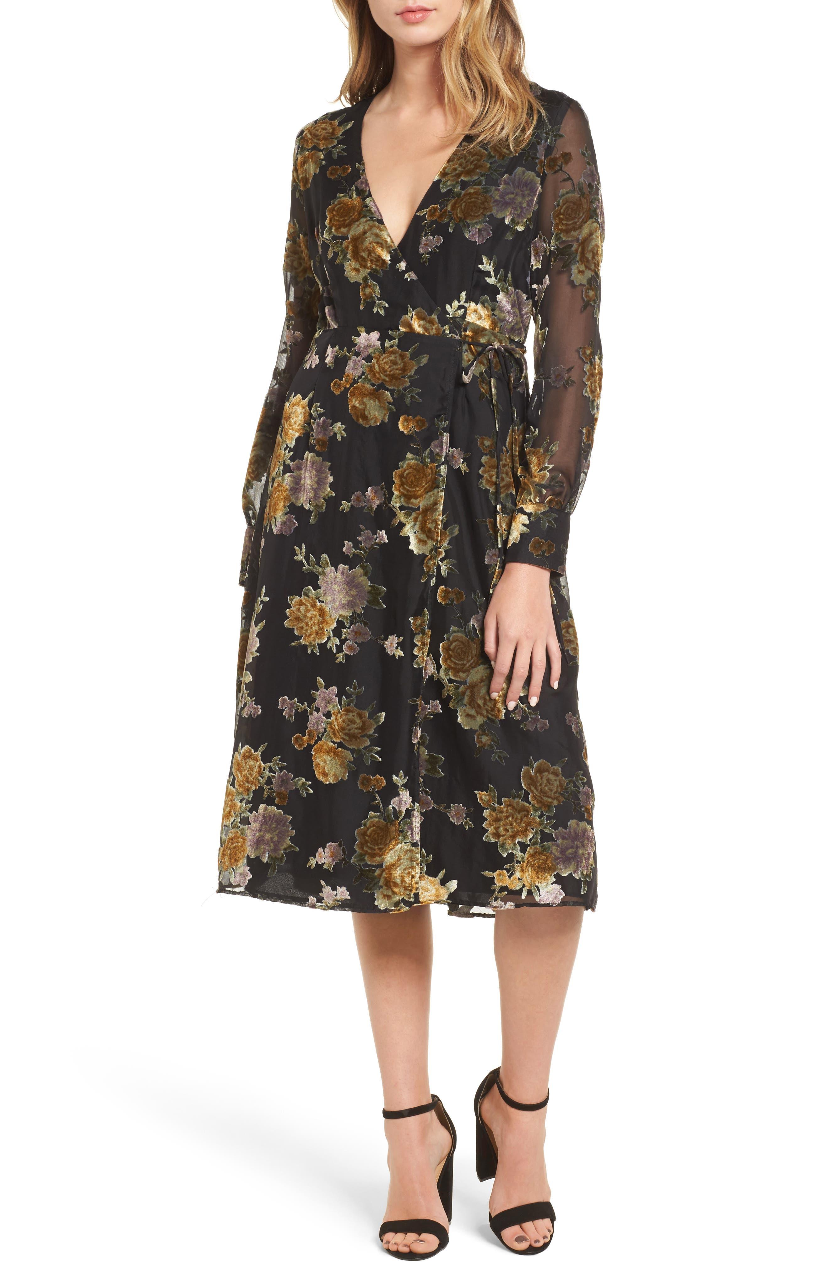 Sonya Wrap Midi Dress,                             Main thumbnail 1, color,                             003