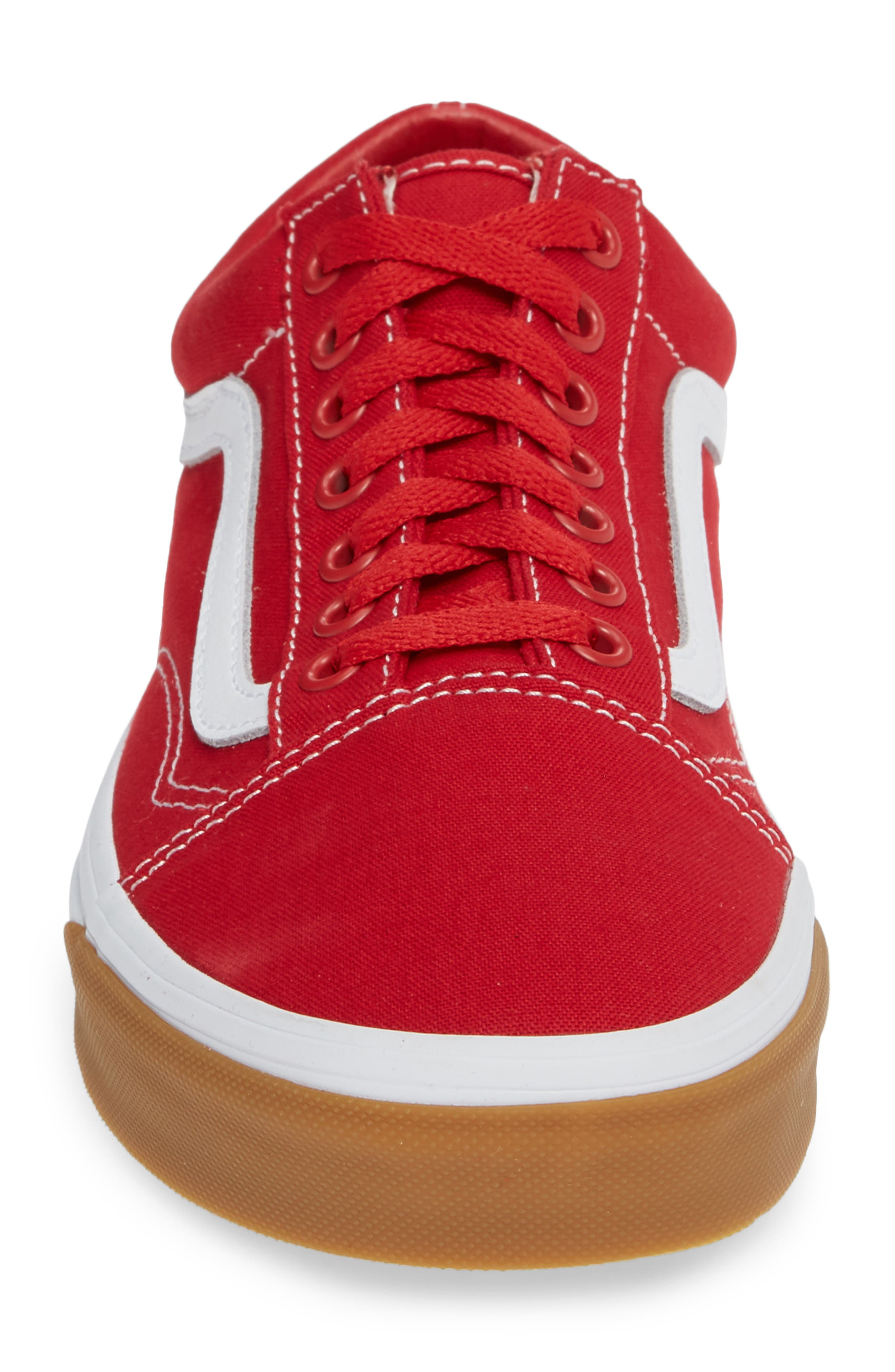 VANS,                             Gum Old Skool Sneaker,                             Alternate thumbnail 4, color,                             RED/ TRUE WHITE
