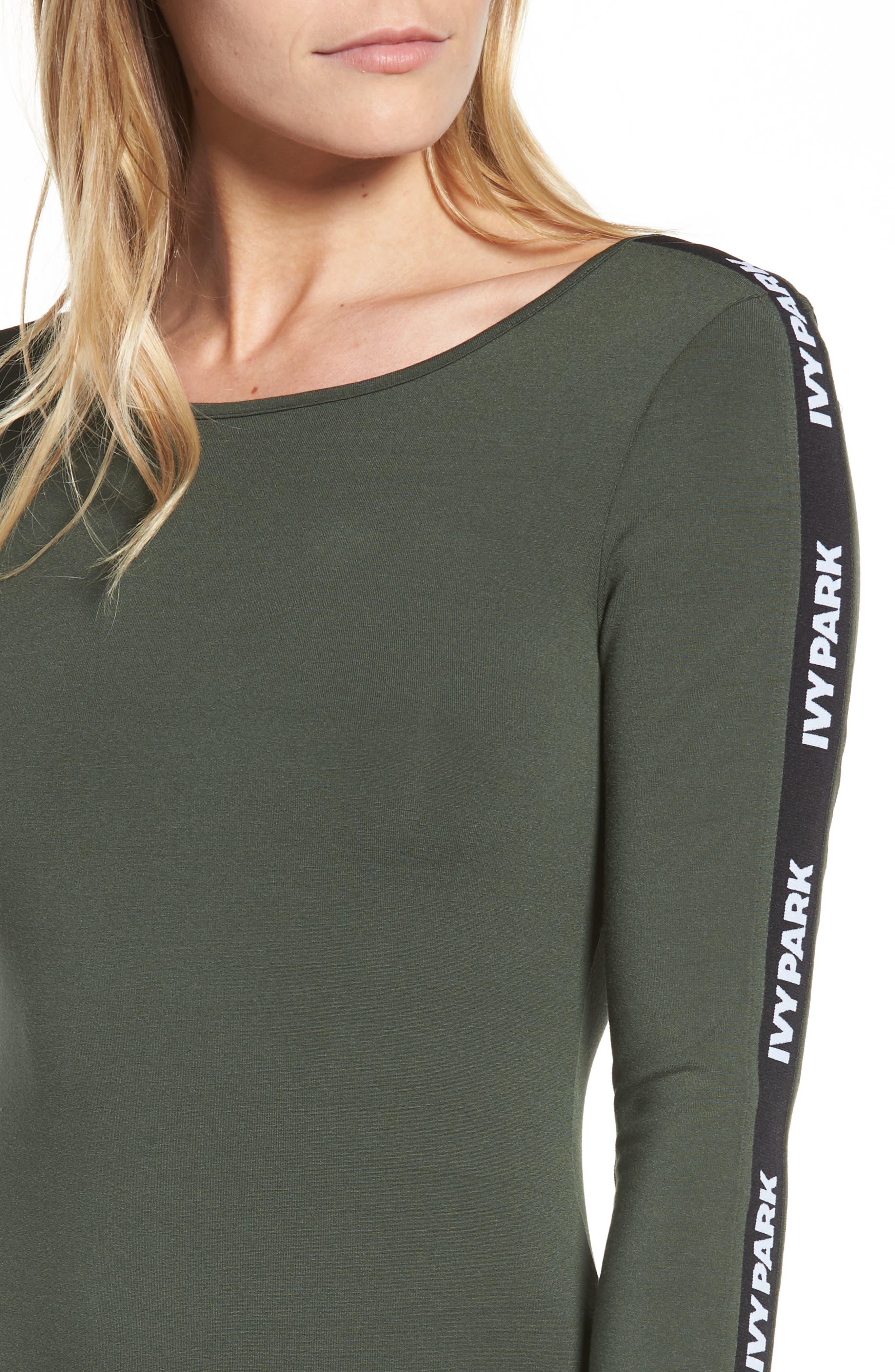 Logo Stripe Sleeve Bodysuit,                             Alternate thumbnail 8, color,
