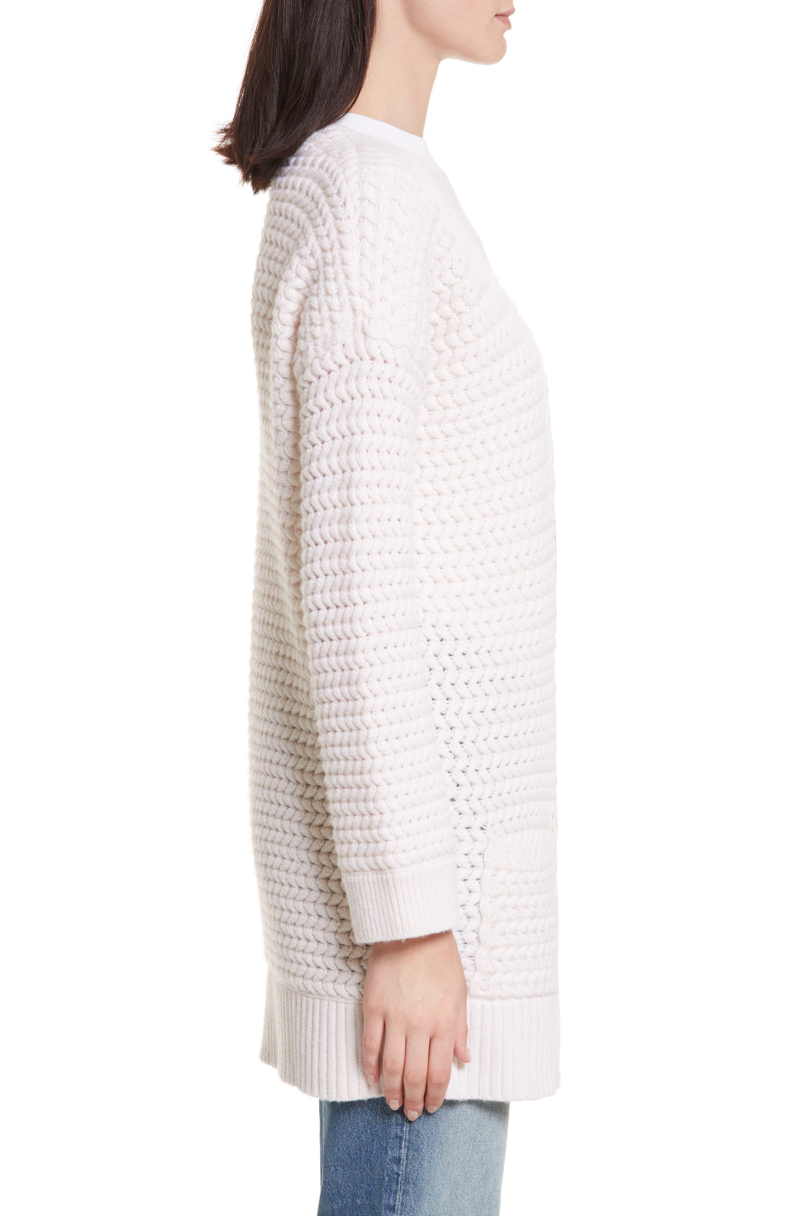 Wavy Knit Merino Wool & Cashmere Cardigan,                             Alternate thumbnail 3, color,                             905