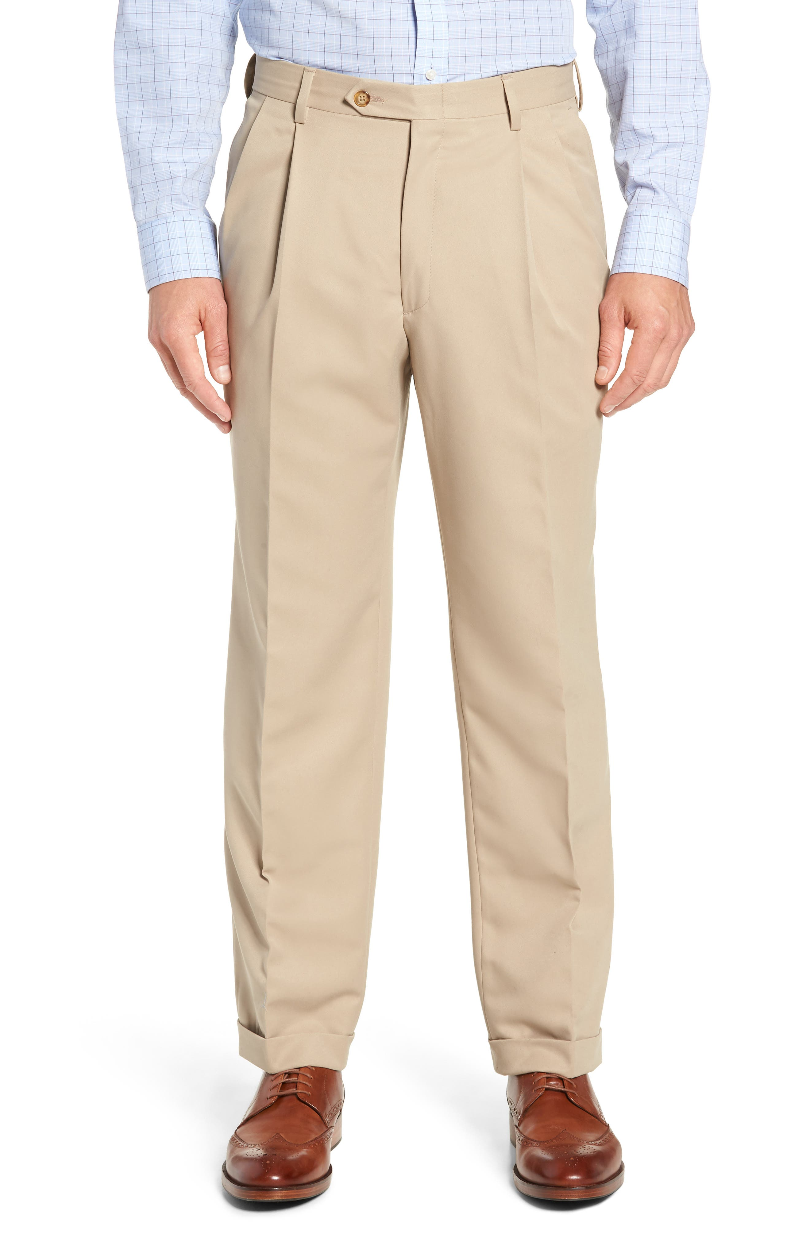 Classic Fit Pleated Microfiber Performance Trousers,                             Main thumbnail 1, color,                             TAN