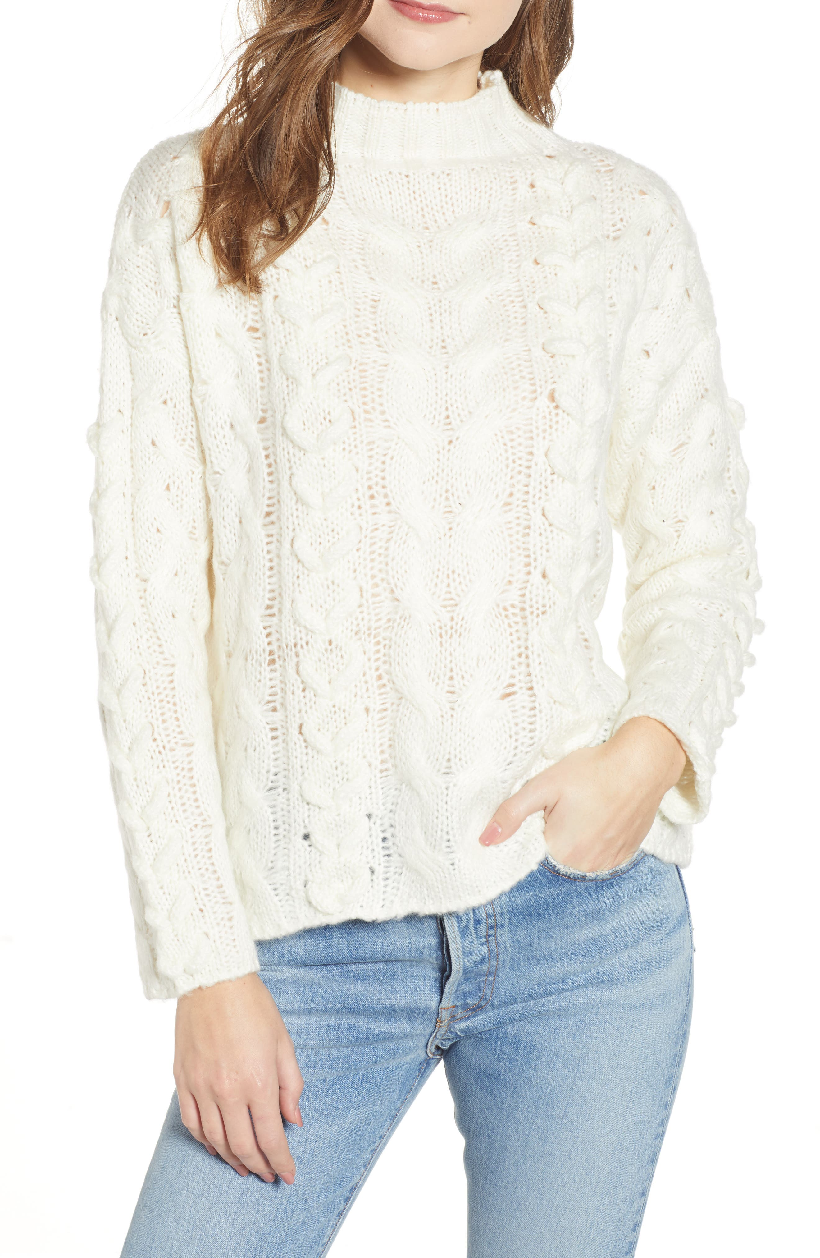 Braided Cable Knit Sweater,                             Main thumbnail 1, color,                             IVORY