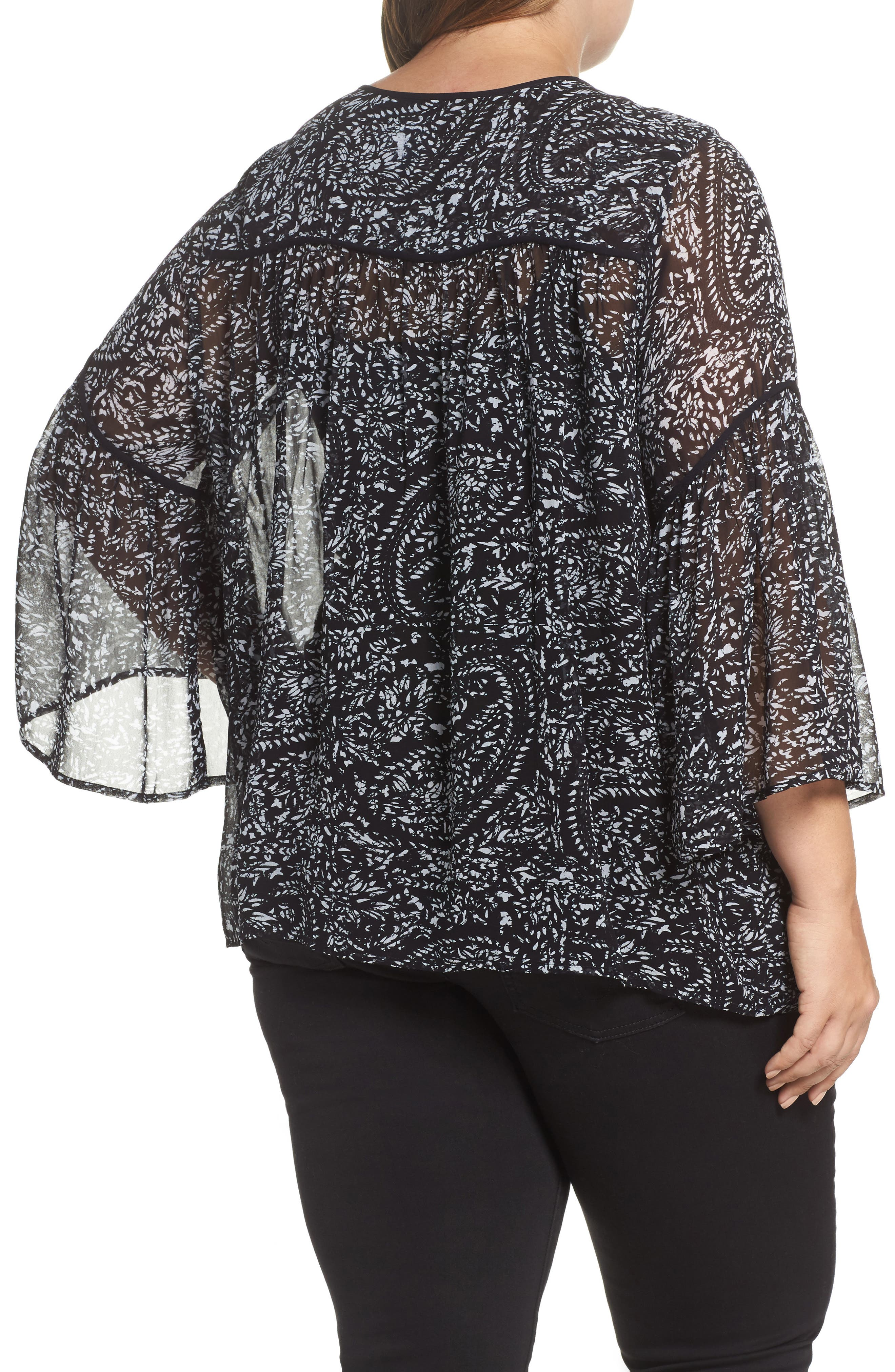 Paisley Print Bell Sleeve Top,                             Alternate thumbnail 2, color,