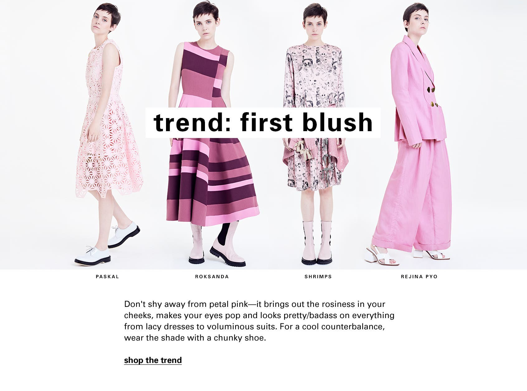 Shop the blush-pink trend from PASKAL, Roksanda, Shrimps and Rejina Pyo at Nordstrom SPACE.