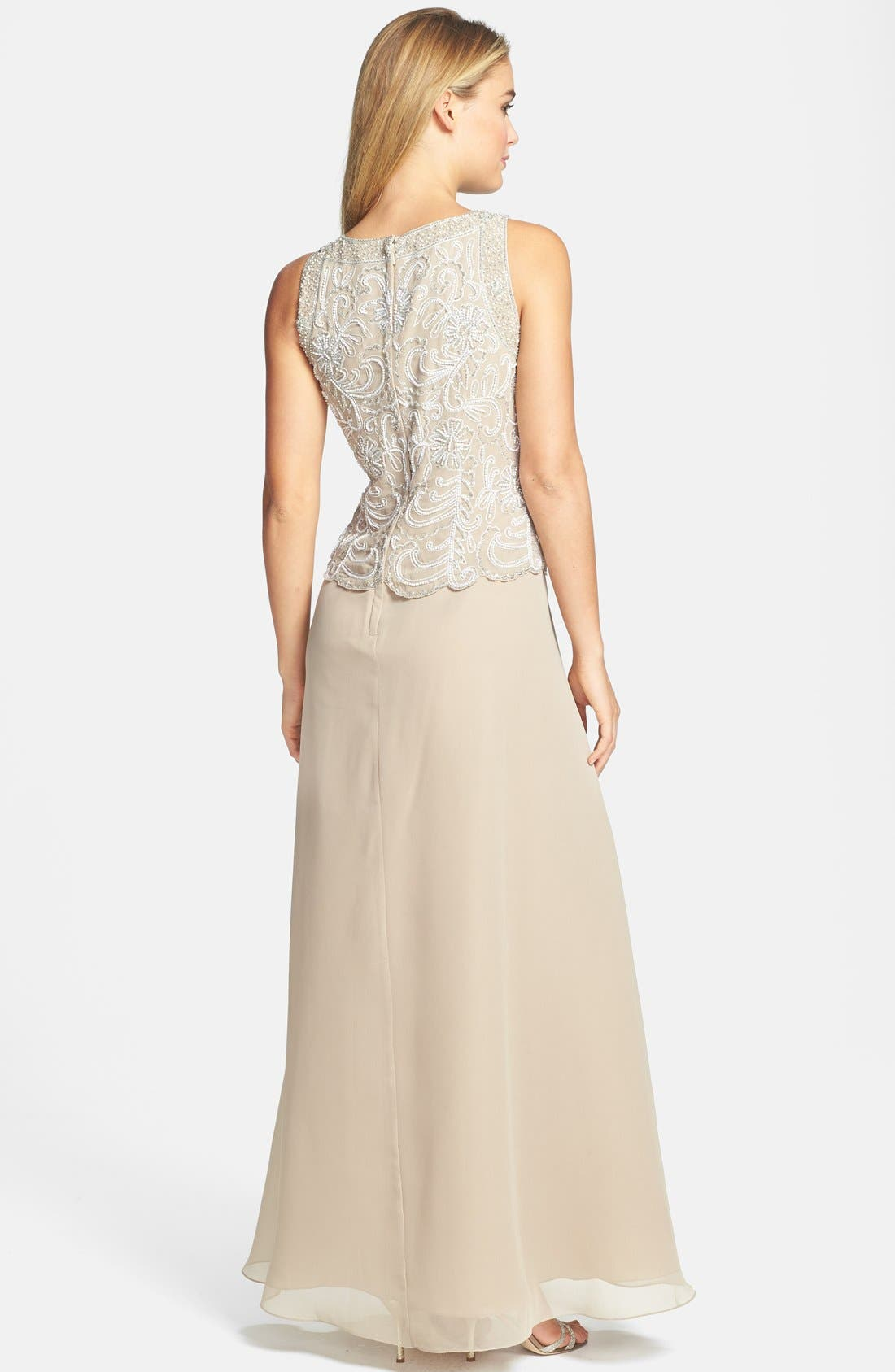 J KARA,                             Embellished Chiffon A-Line Gown with Shawl,                             Alternate thumbnail 2, color,                             250