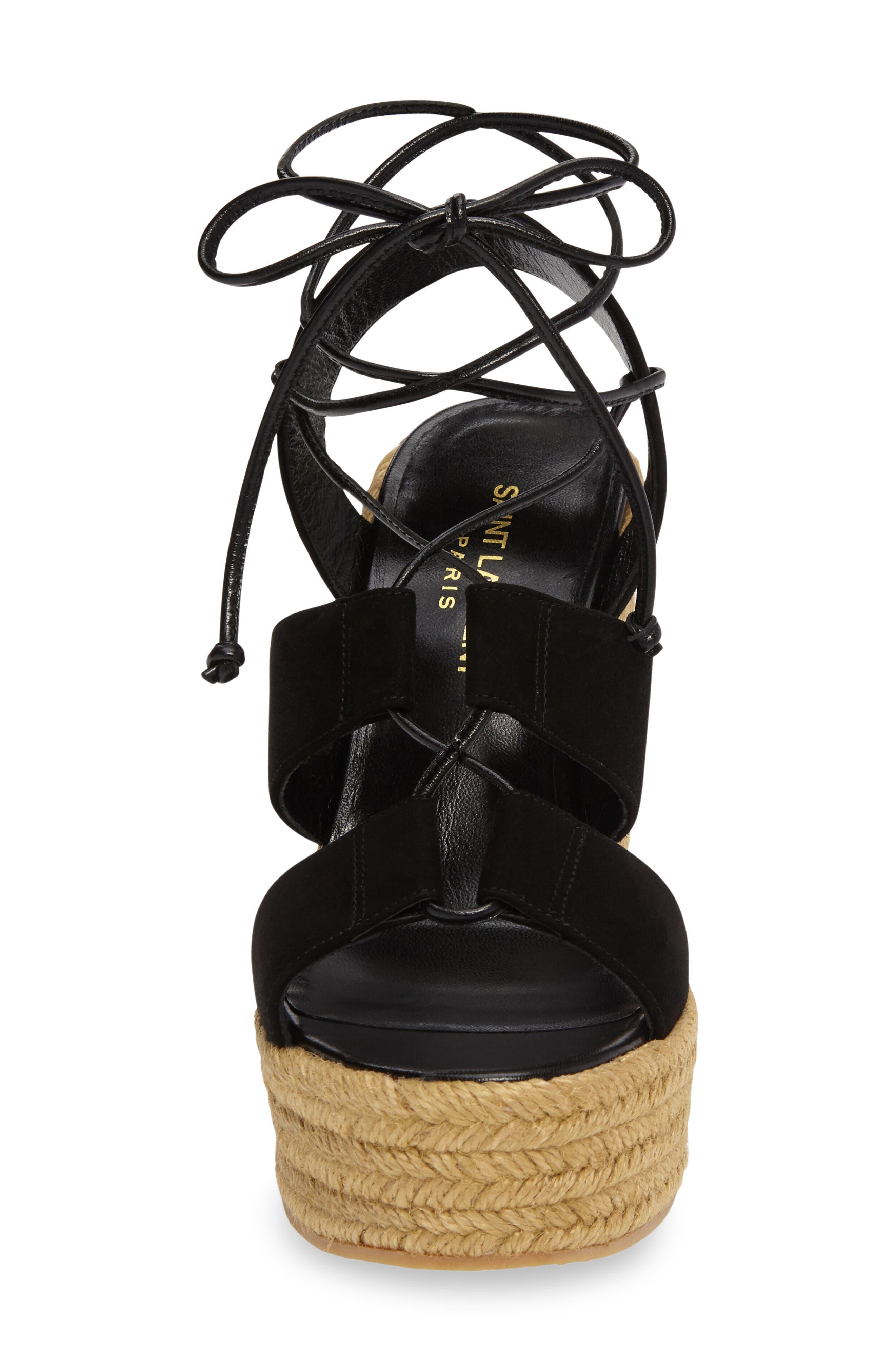 Woven Espadrille Wedge Sandal,                             Alternate thumbnail 4, color,                             001