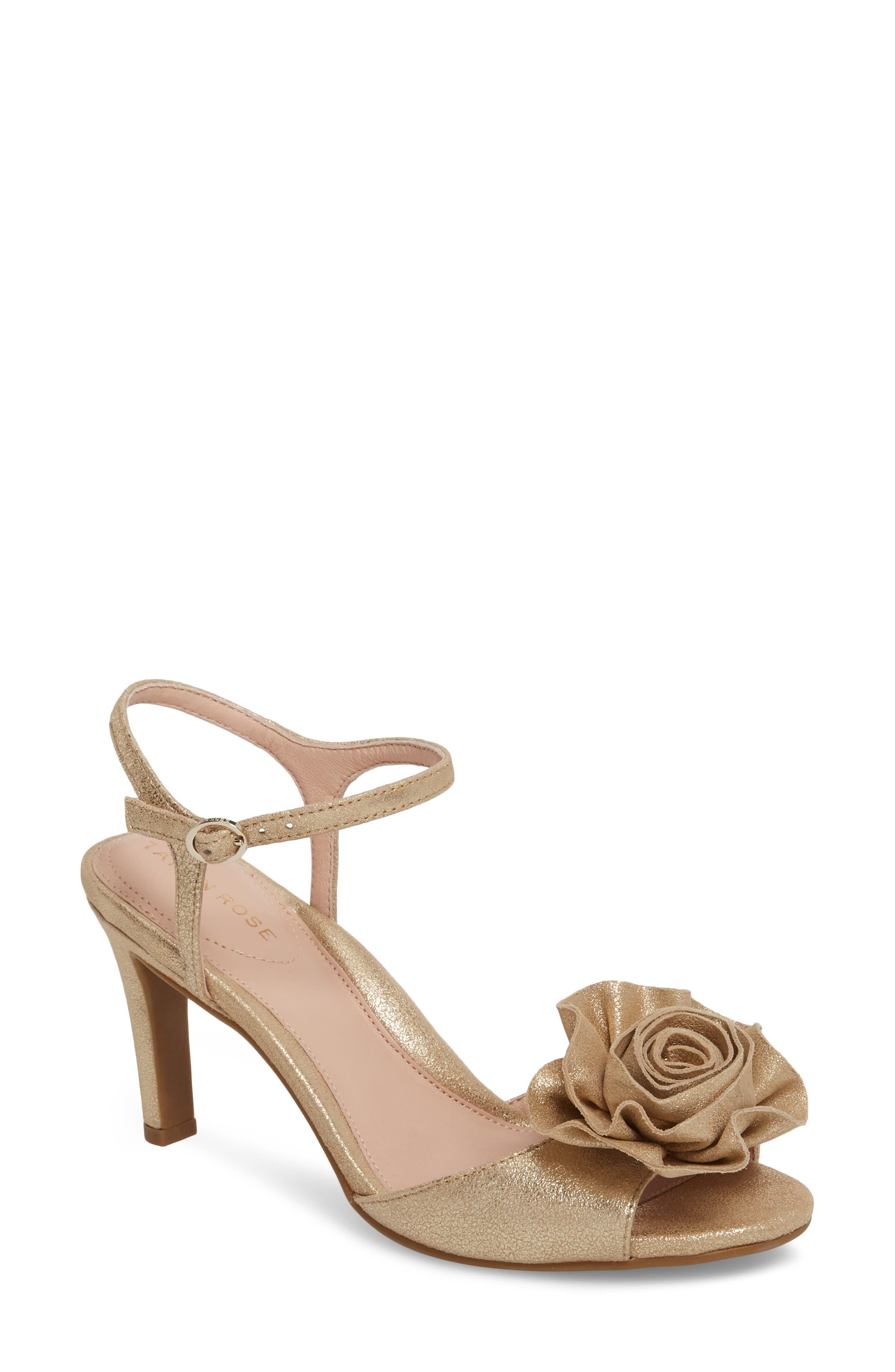 TARYN ROSE Jacklyn Flower Sandal, Main, color, GOLD SHIMMER FABRIC