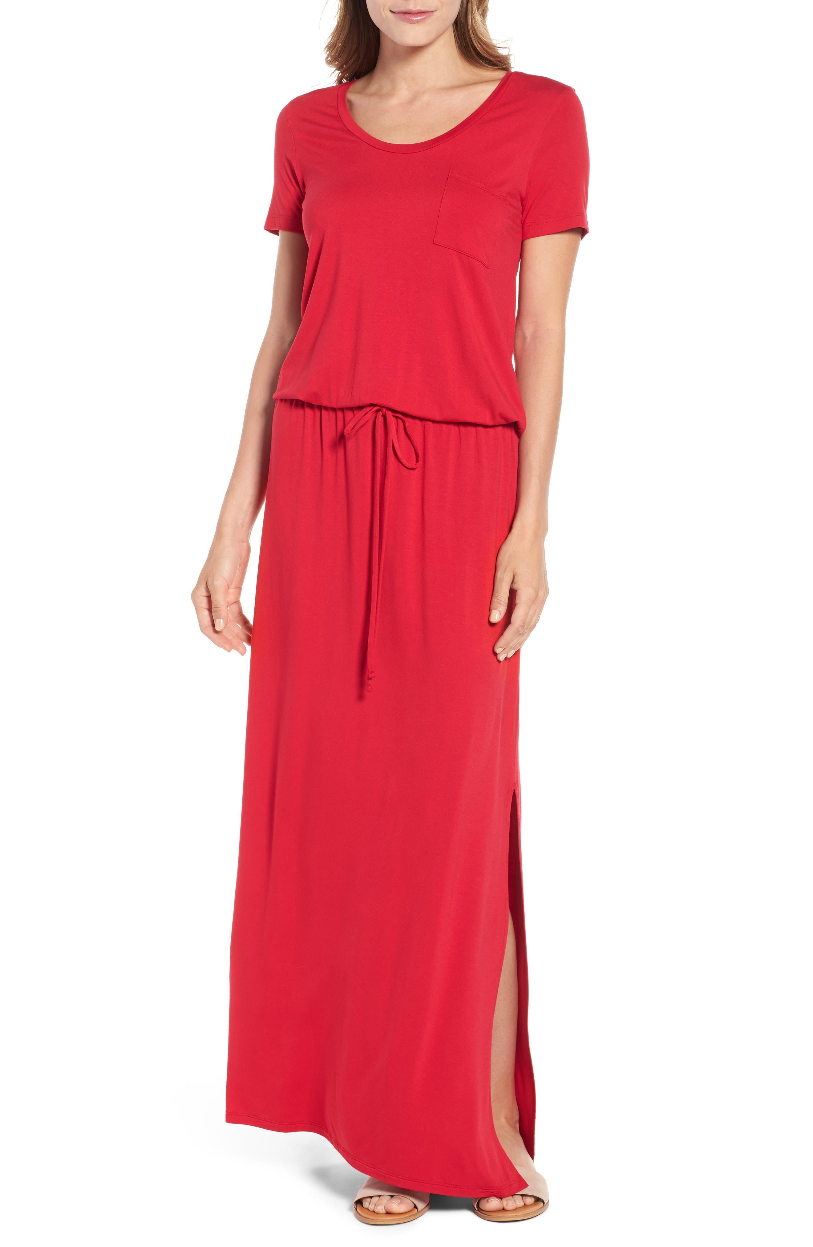 Caslon Drawstring V-Neck Jersey Maxi Dress, Red