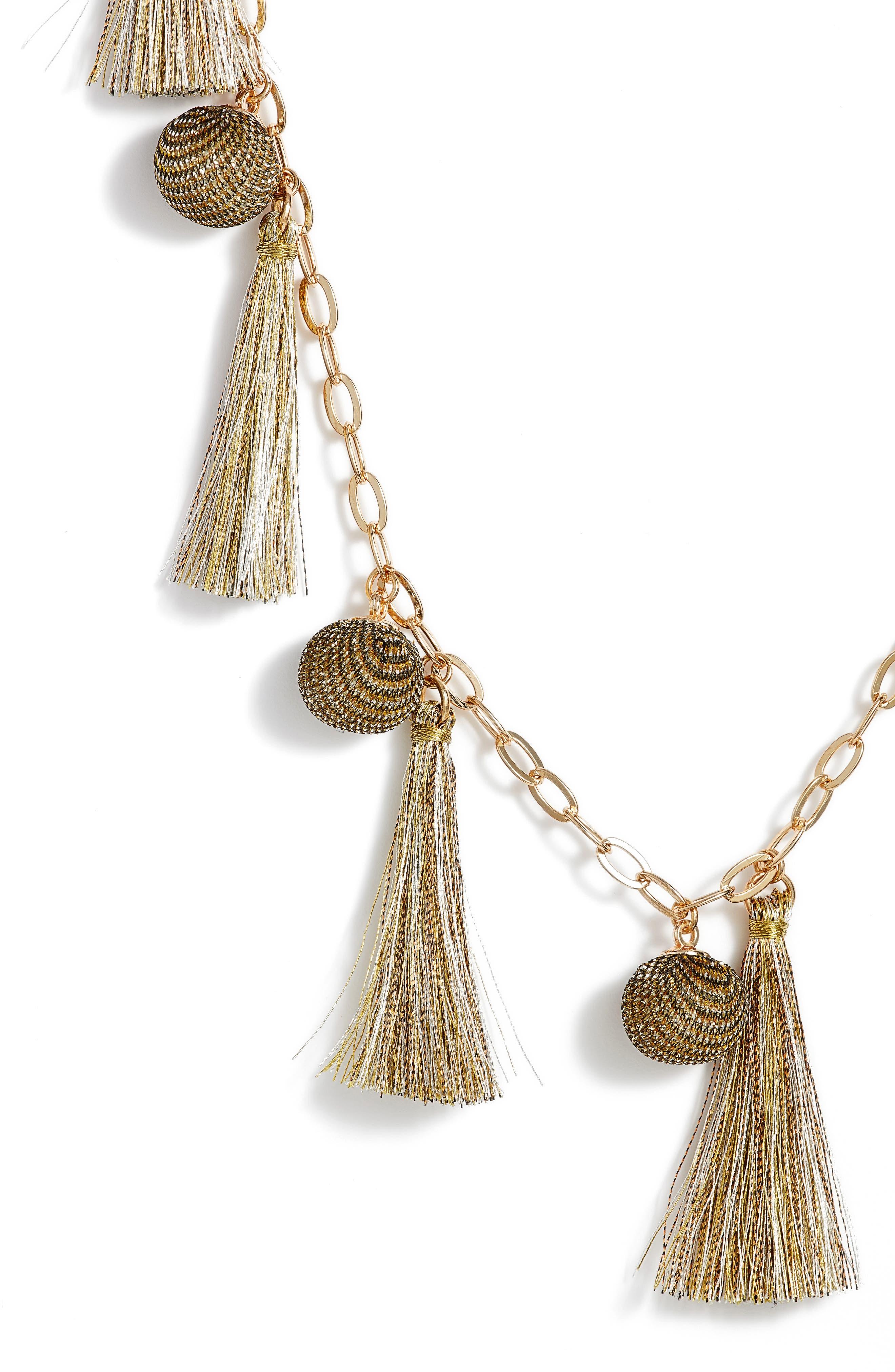 Metallic Pom & Tassel Necklace,                             Alternate thumbnail 4, color,