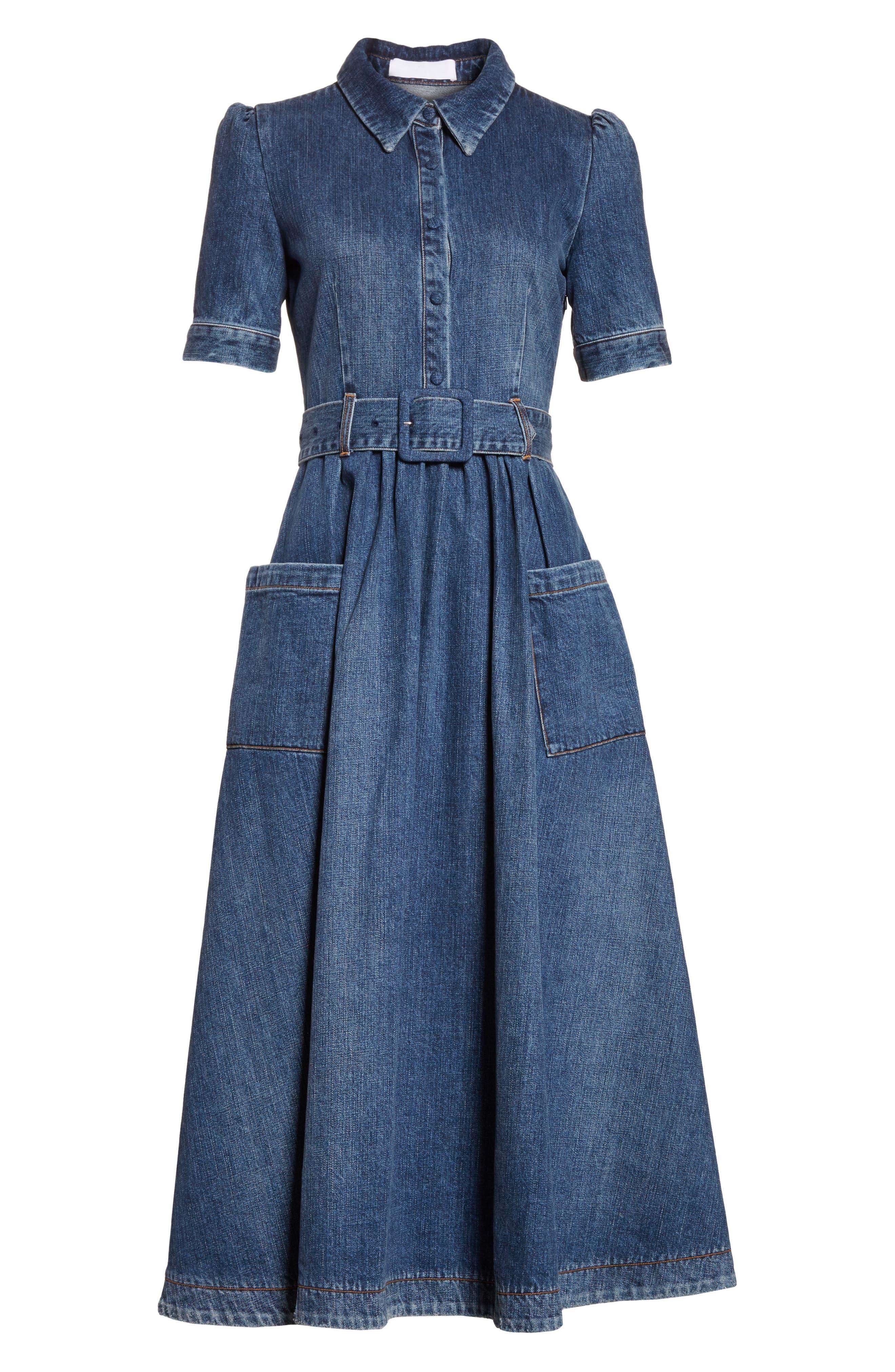 Denim Fit & Flare Midi Dress,                             Alternate thumbnail 7, color,                             INDIGO