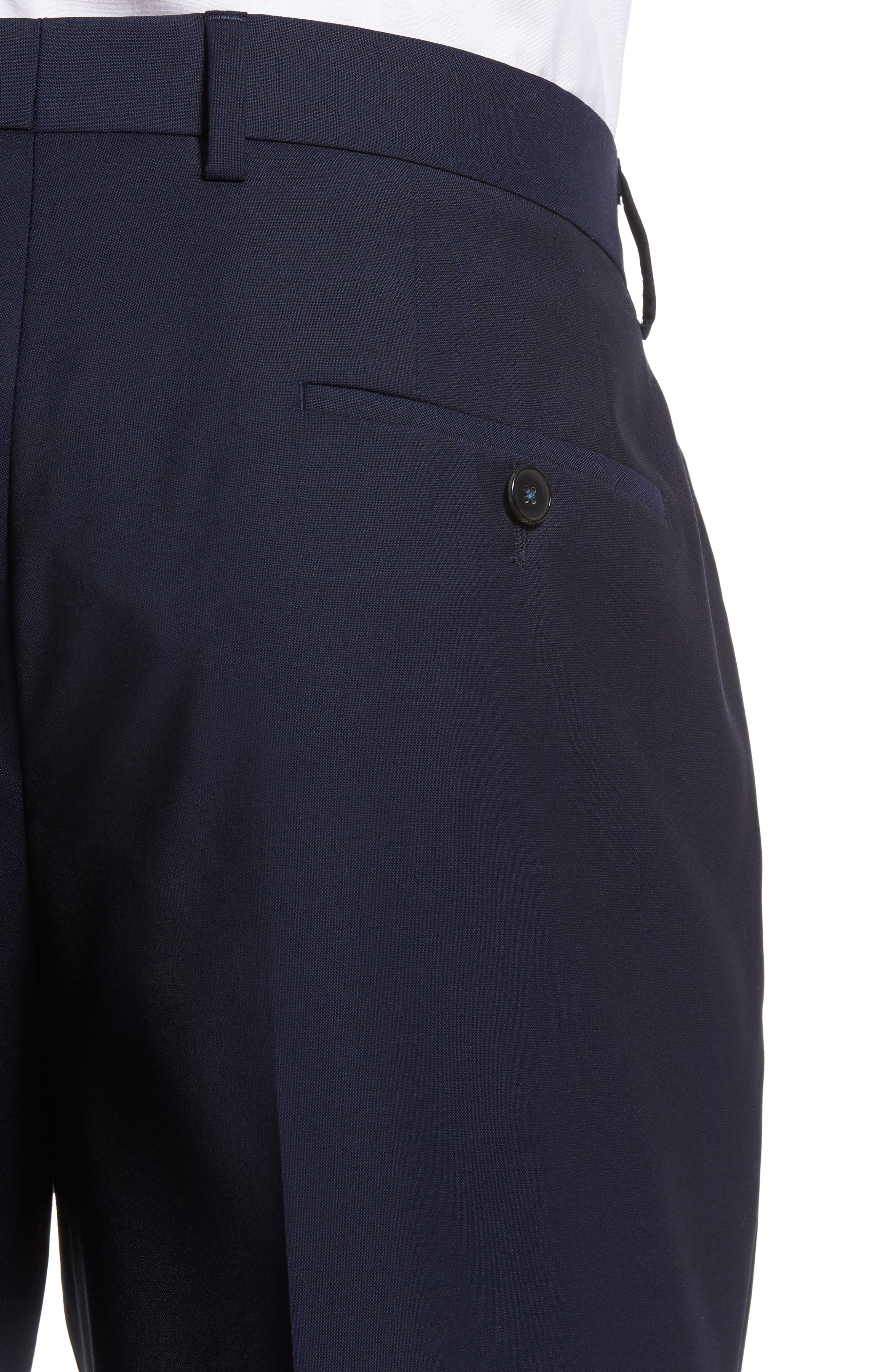 Genesis Flat Front Trim Fit Solid Wool Trousers,                             Alternate thumbnail 5, color,                             NAVY