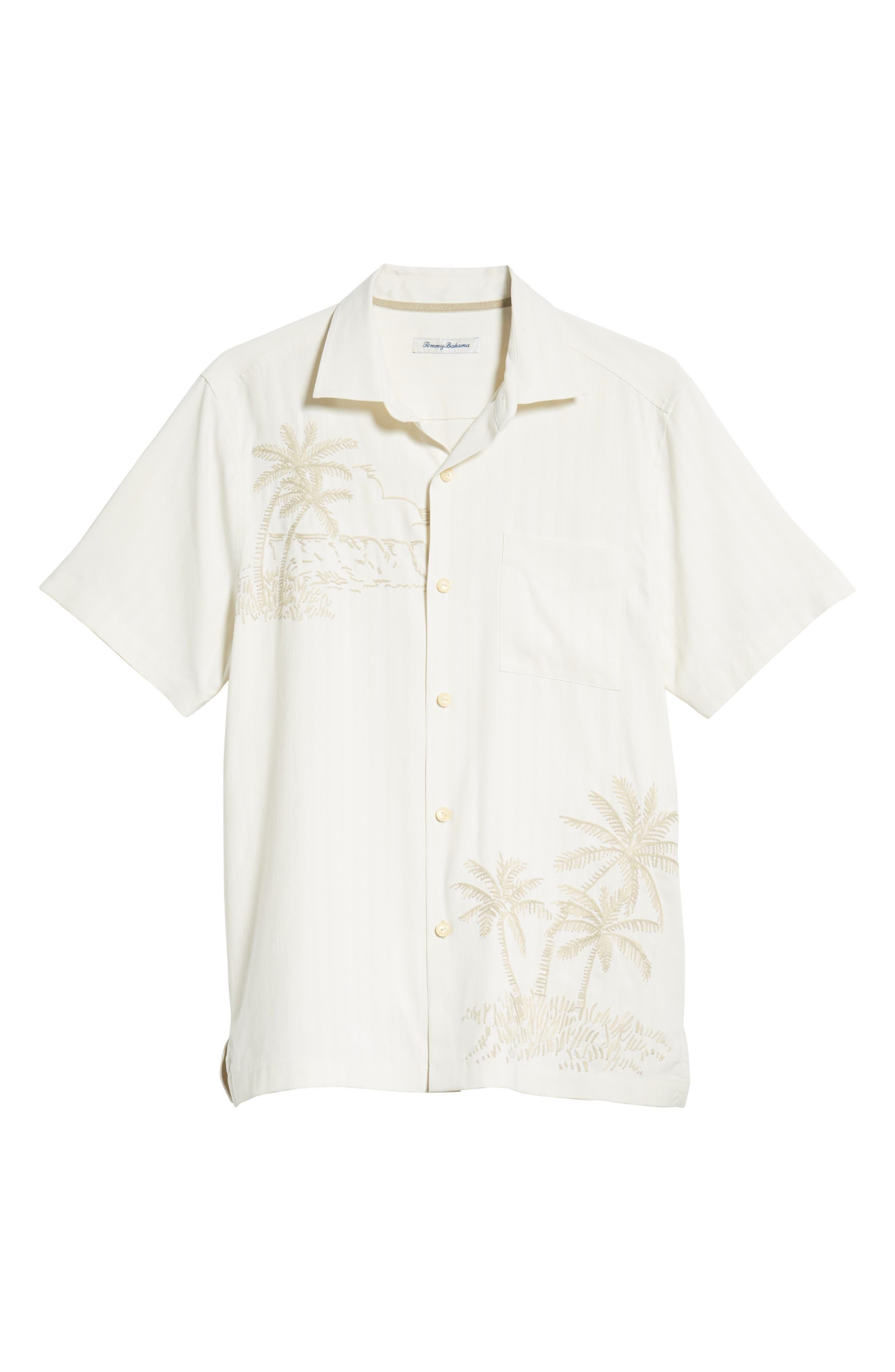 Las Playas Palms Silk Camp Shirt,                             Alternate thumbnail 6, color,                             TWILL