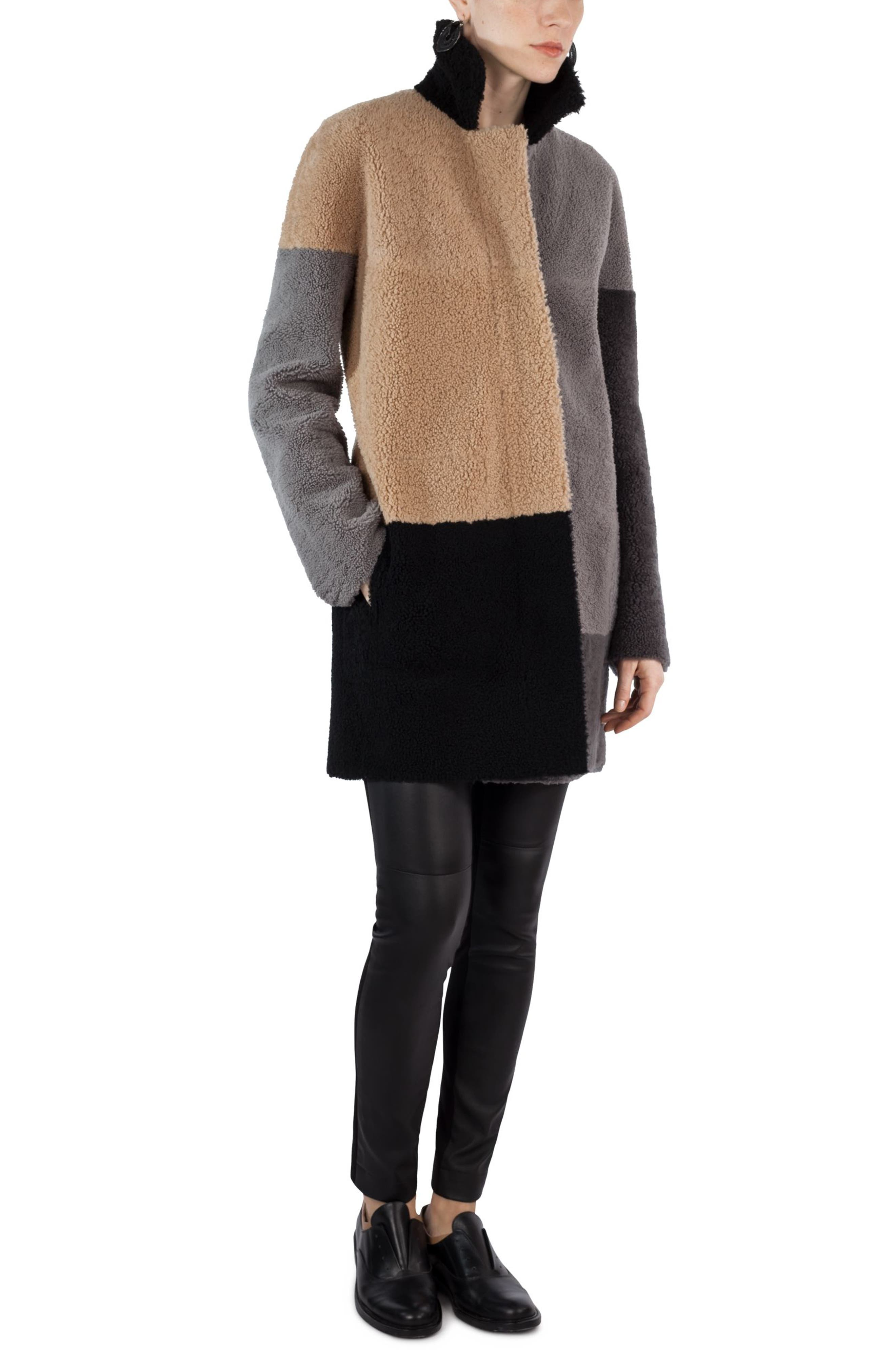 Colorblock Reversible Genuine Shearling Coat,                             Main thumbnail 1, color,                             200