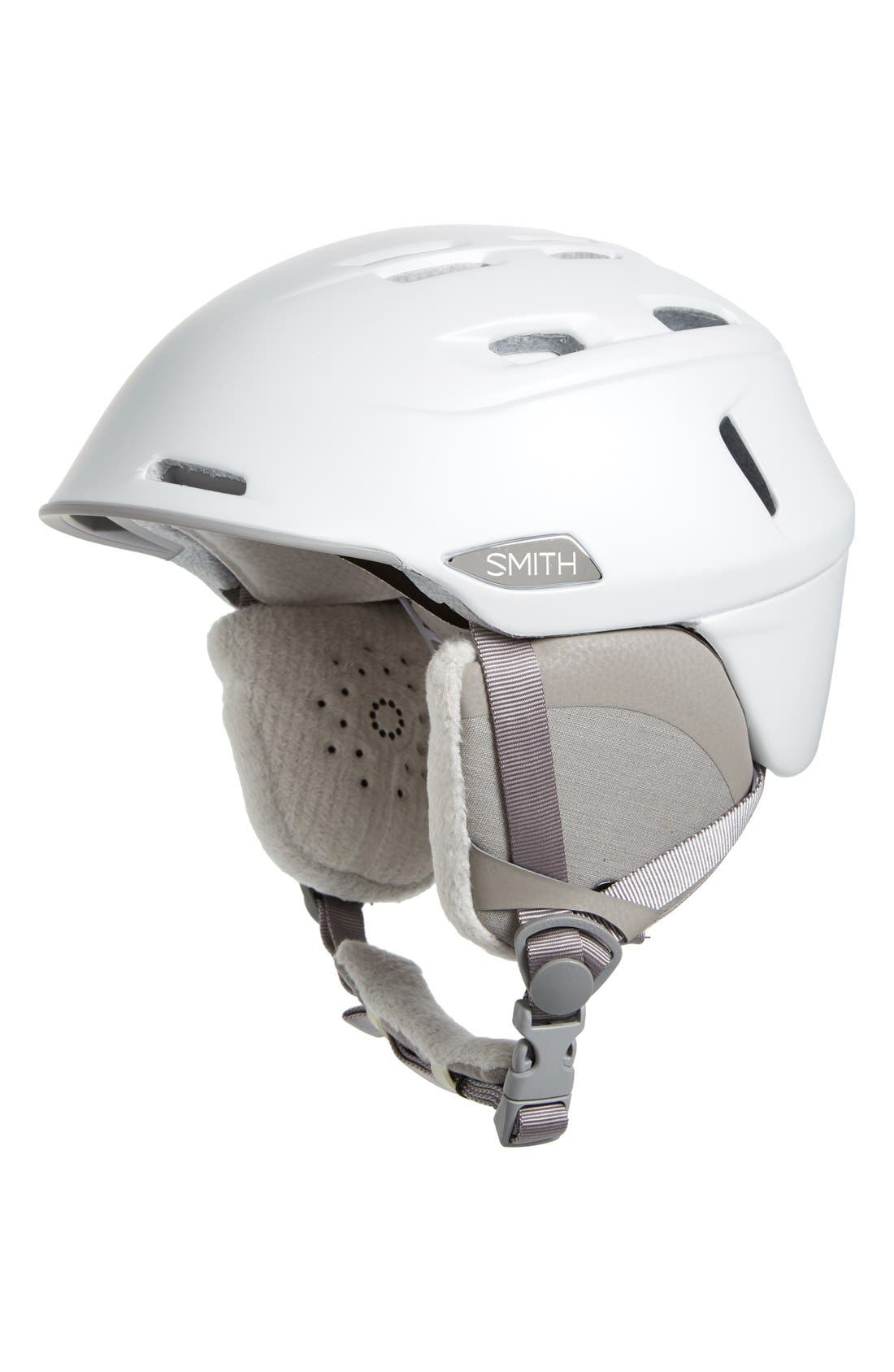 SMITH,                             'Compass' Snow Helmet,                             Main thumbnail 1, color,                             PEARL WHITE